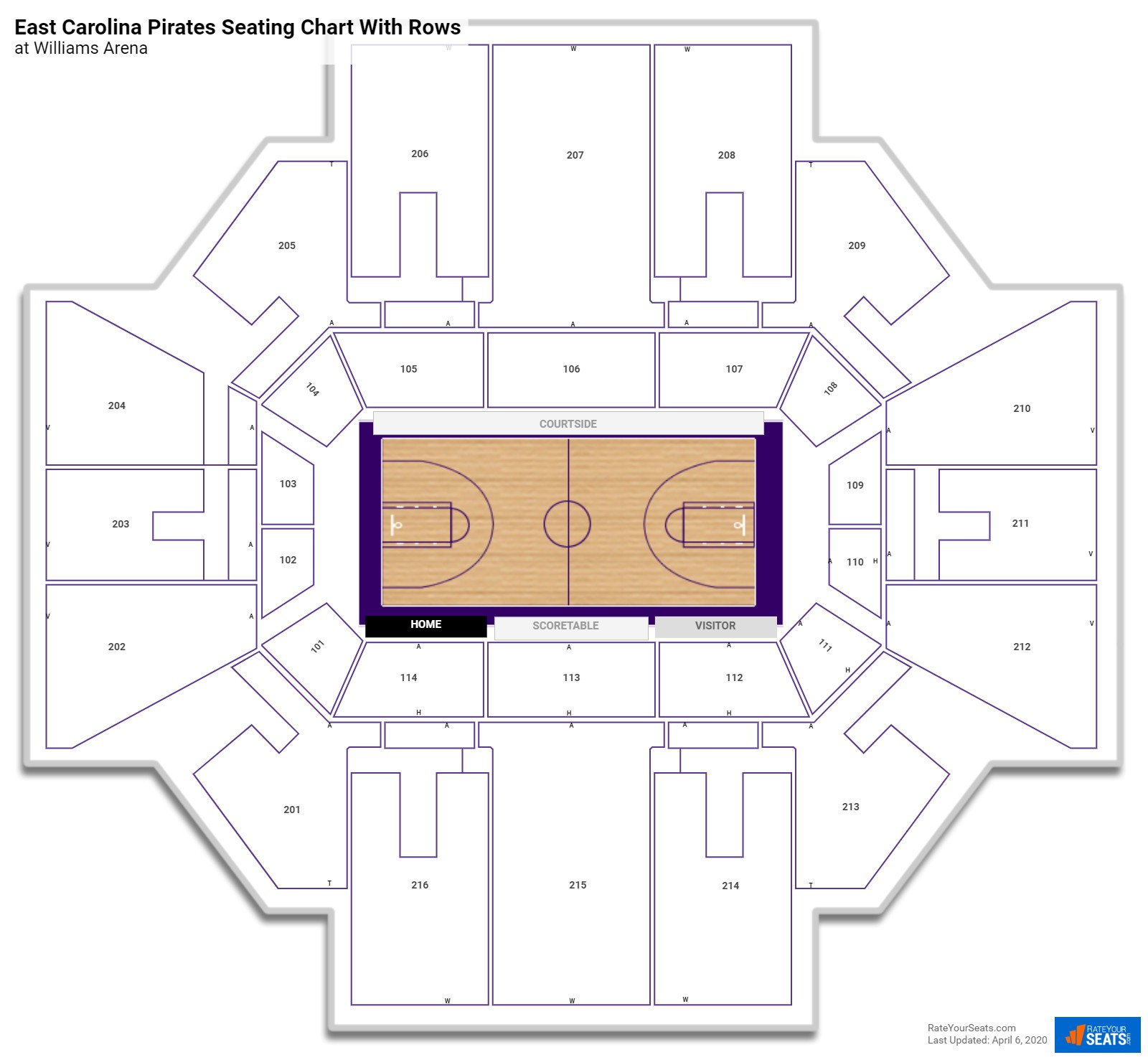 Williams Arena seating chart with rows