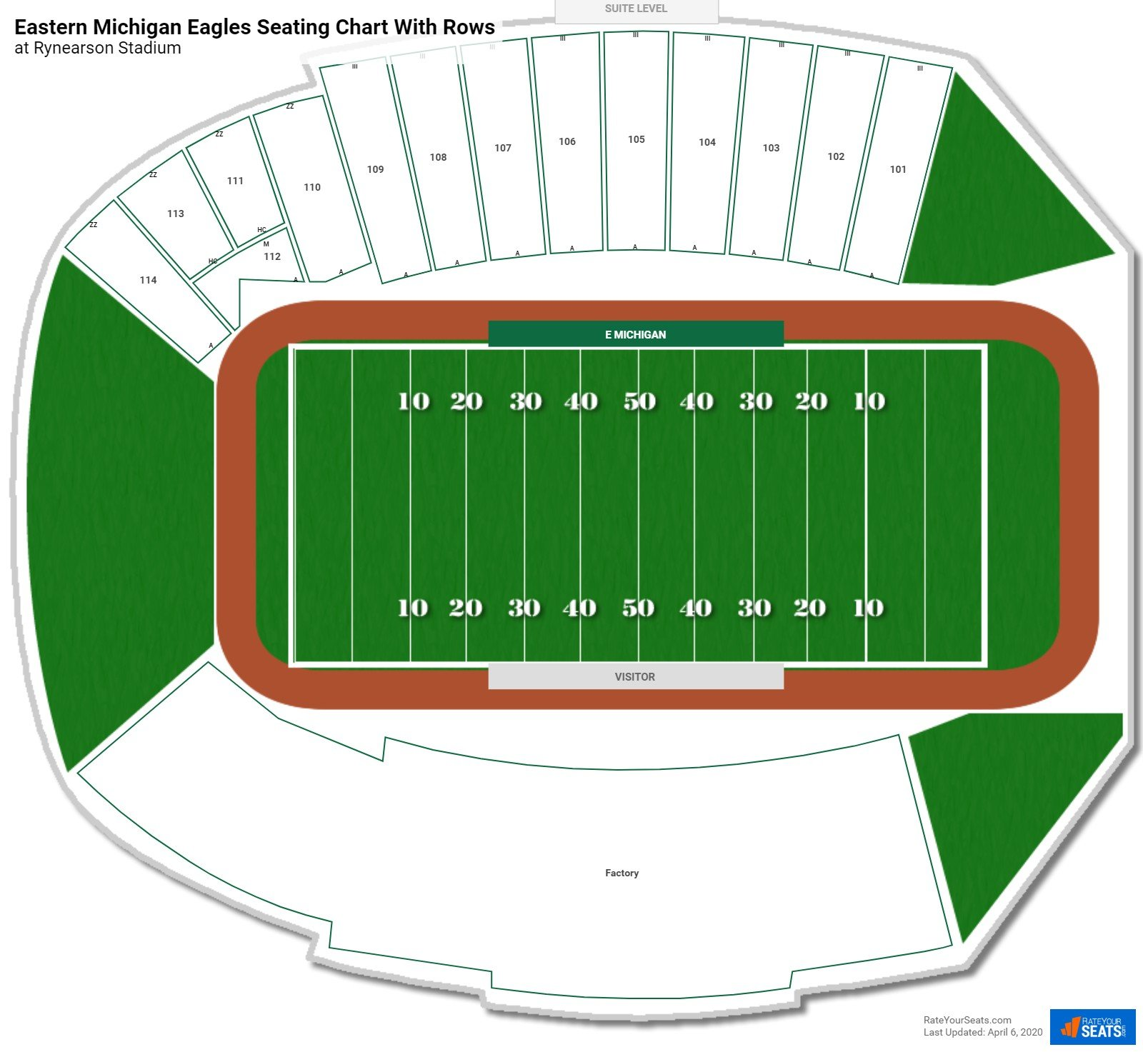 Rynearson Stadium seating chart with rows