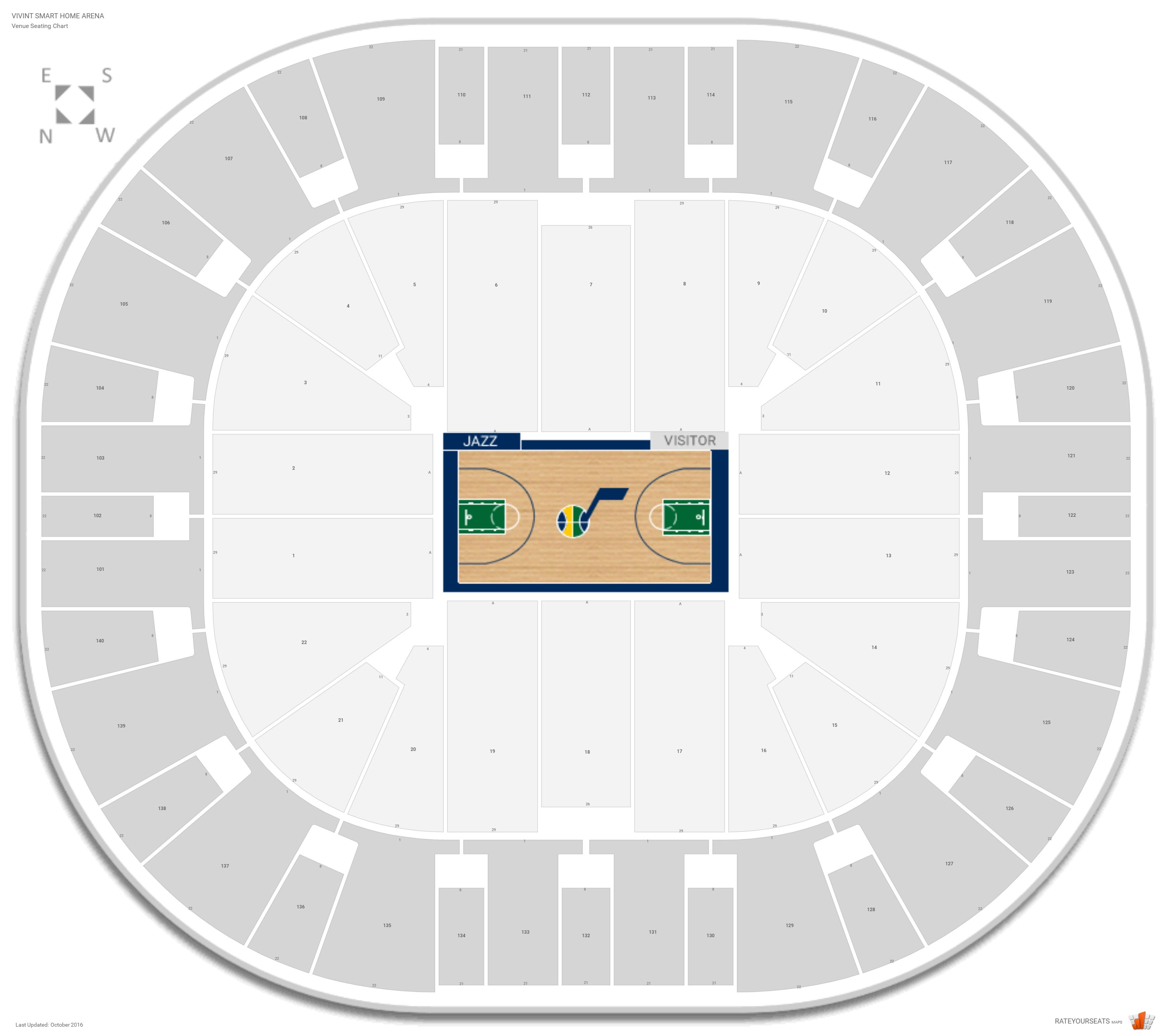 Vivint Smart Home Arena Seating Chart With Row Numbers