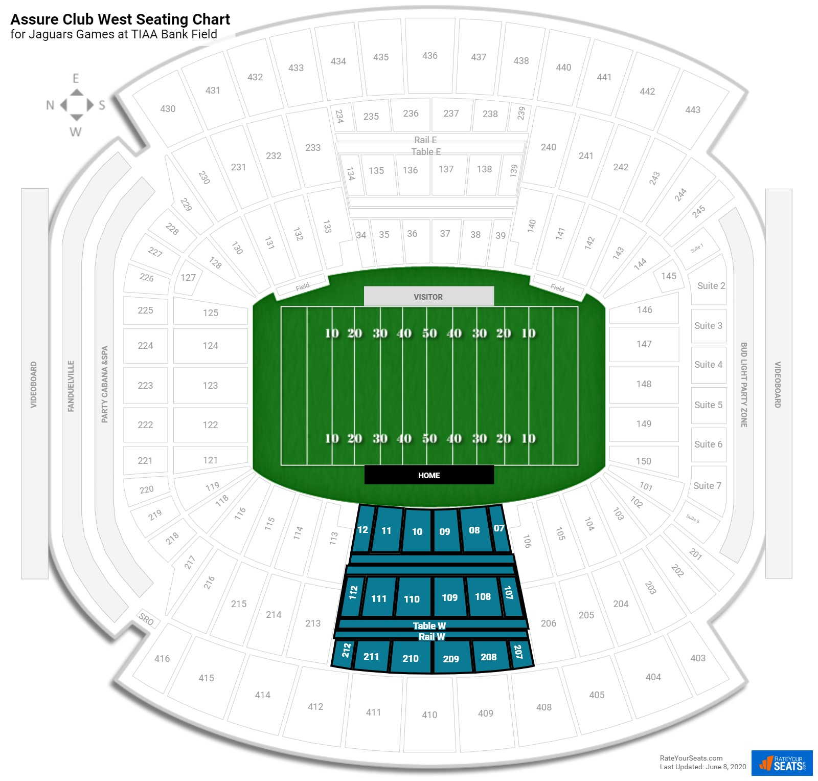 EverBank Field Assure Club West seating chart