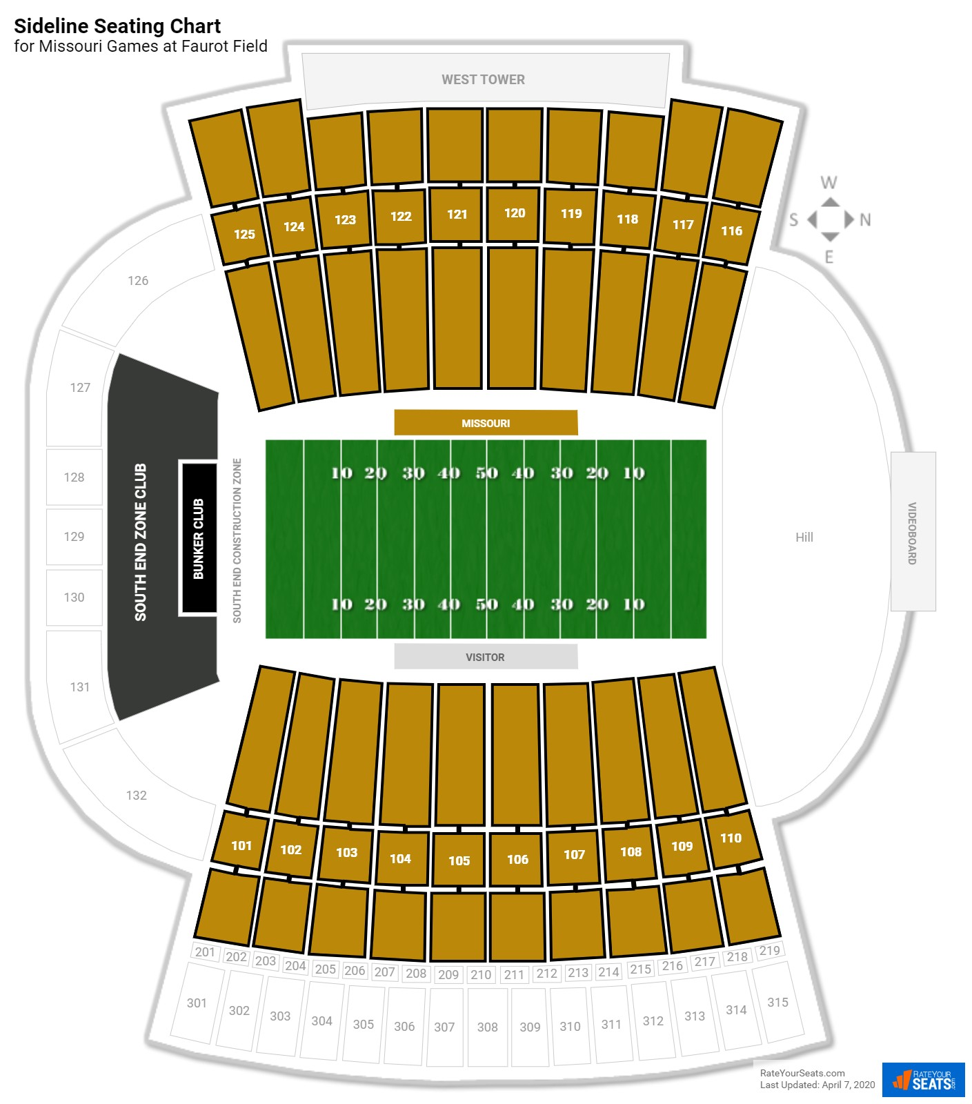 Faurot Field (Memorial Stadium) Sideline seating chart