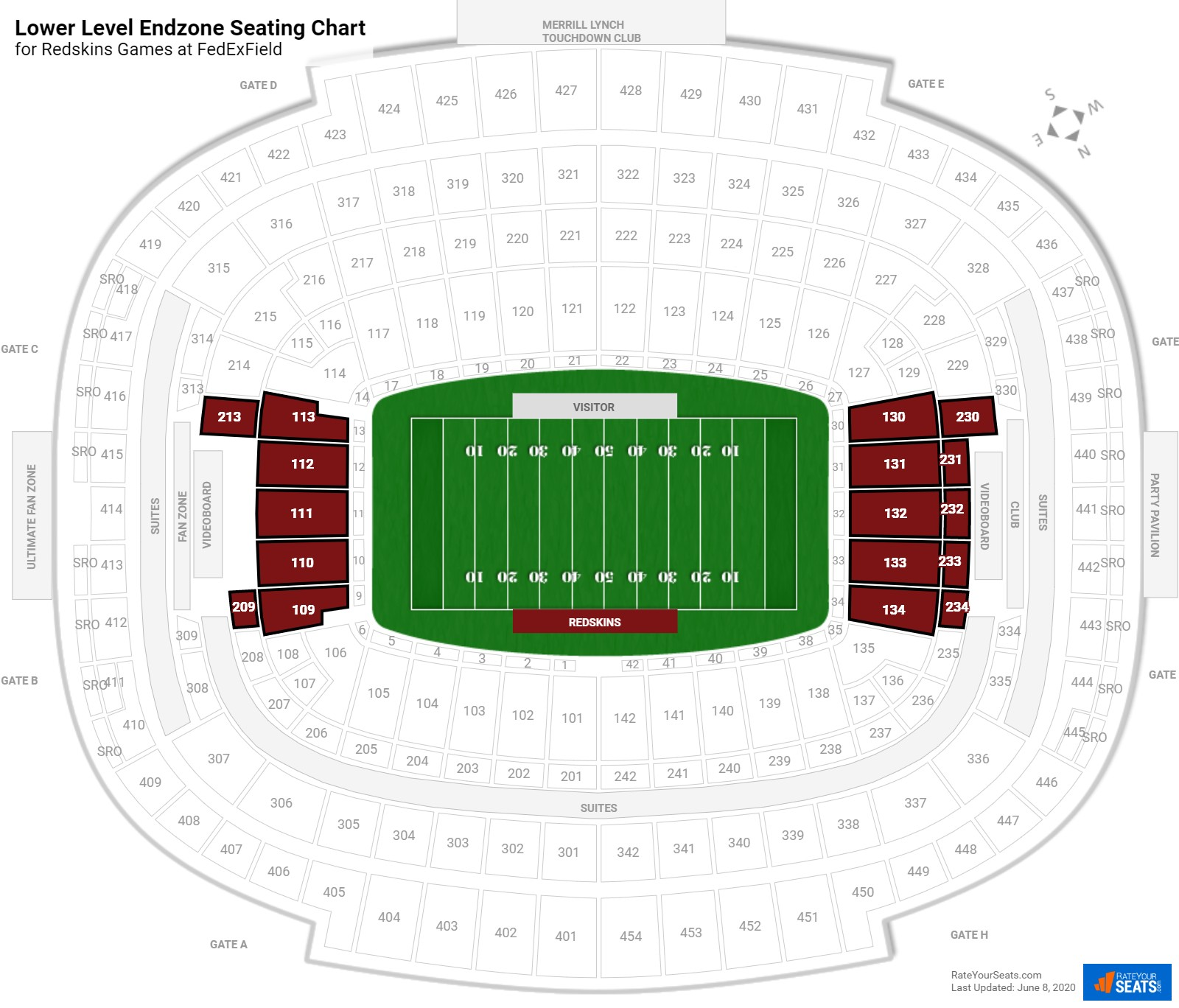 FedExField Lower Level Endzone seating chart