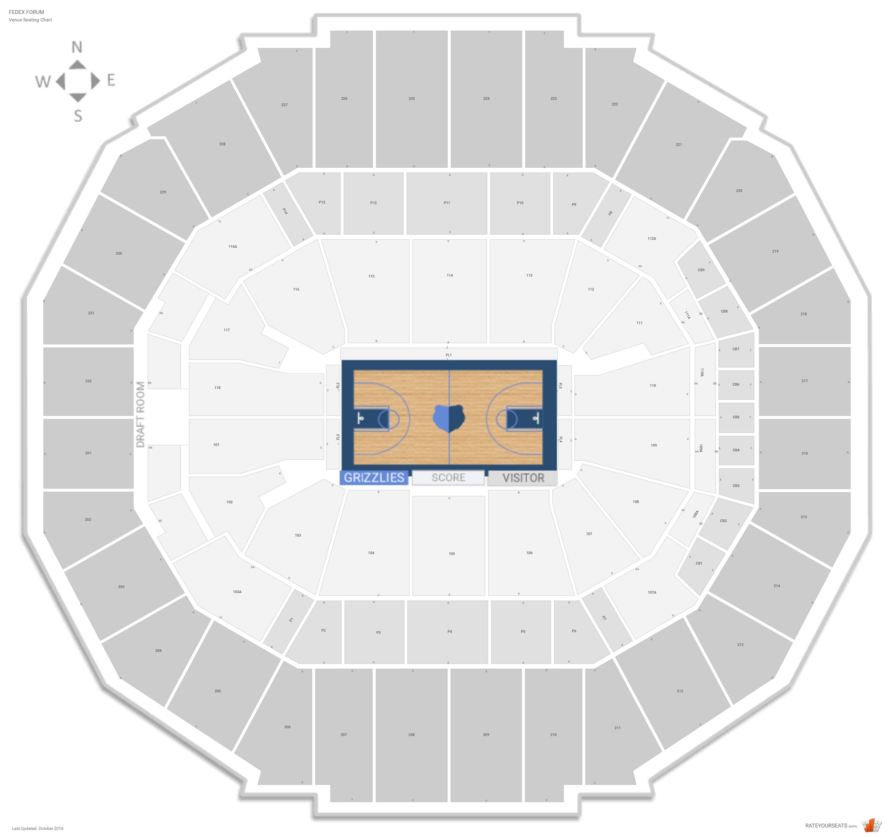 Memphis grizzlies seating guide fedex forum rateyourseats com