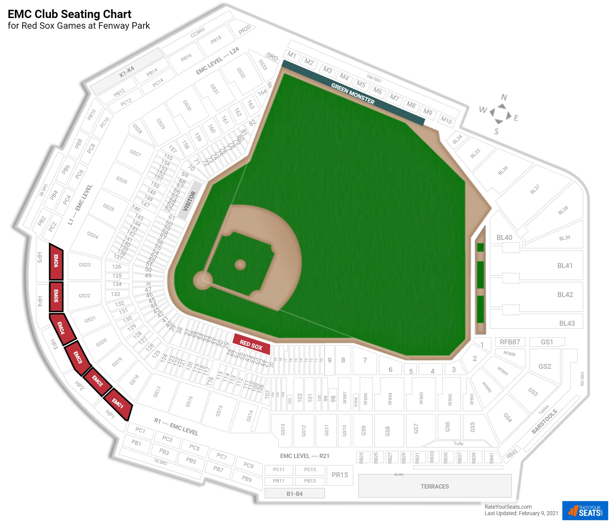 Fenway Park EMC Club seating chart