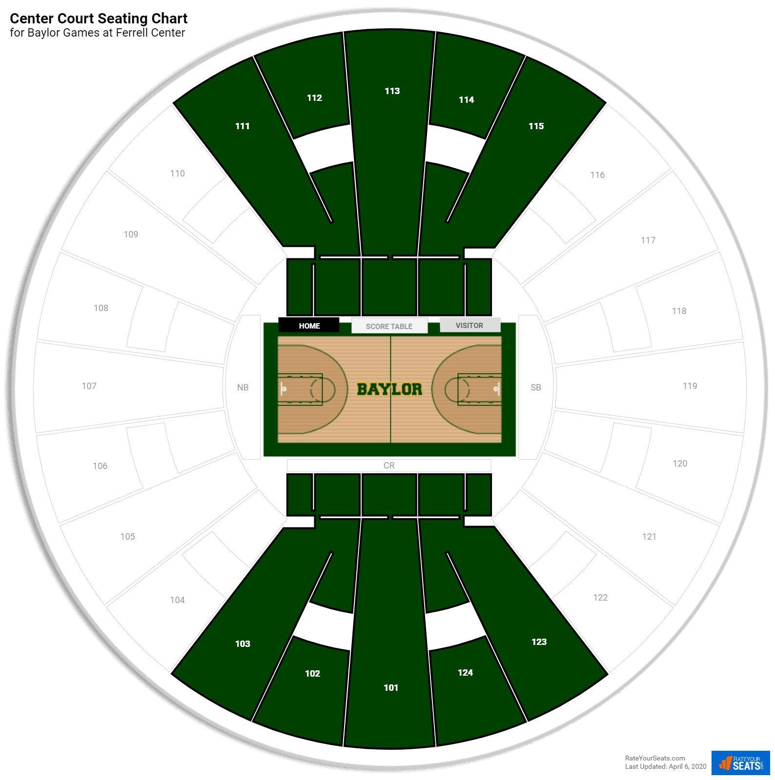 Ferrell Center Court Seating Chart