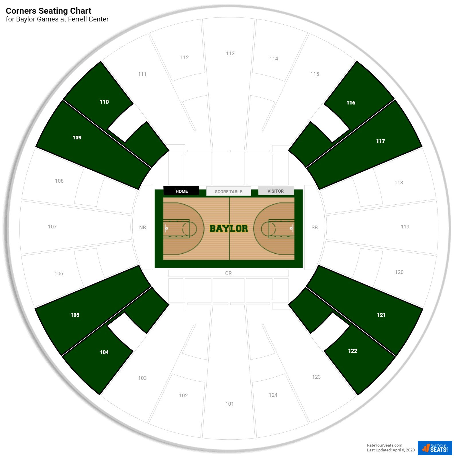 Ferrell Center Corners Seating Chart