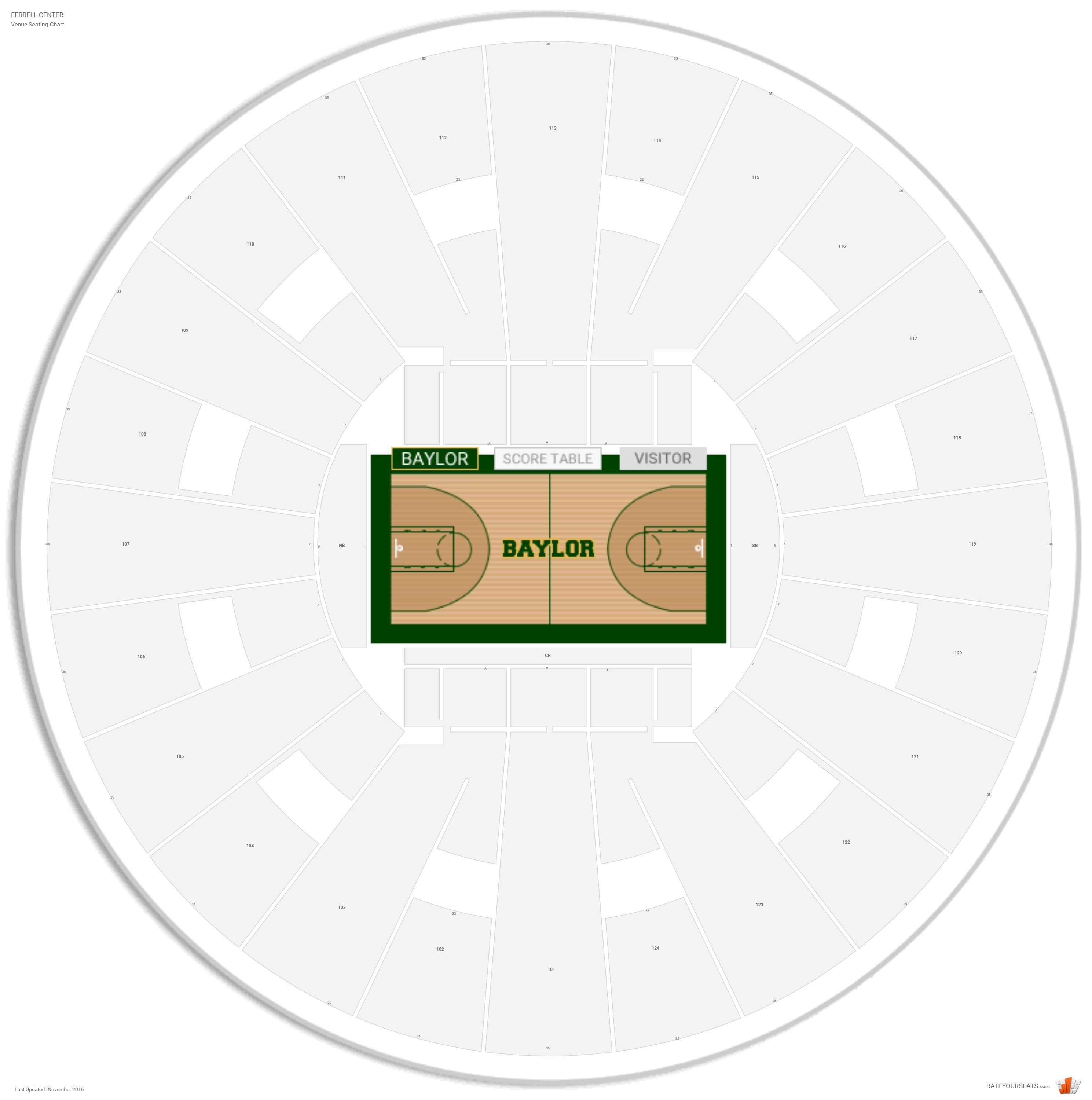 Ferrell Center Seating Chart With Row Numbers