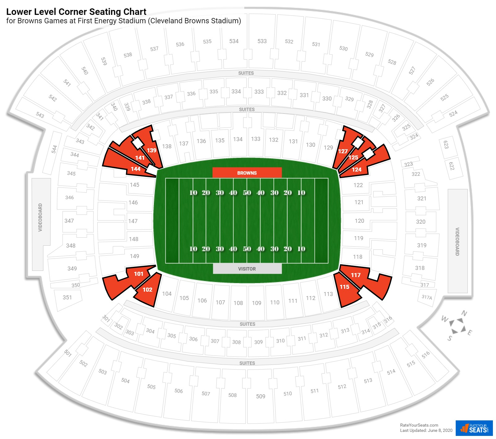 First Energy Stadium (Cleveland Browns Stadium) Lower Level Corner seating chart