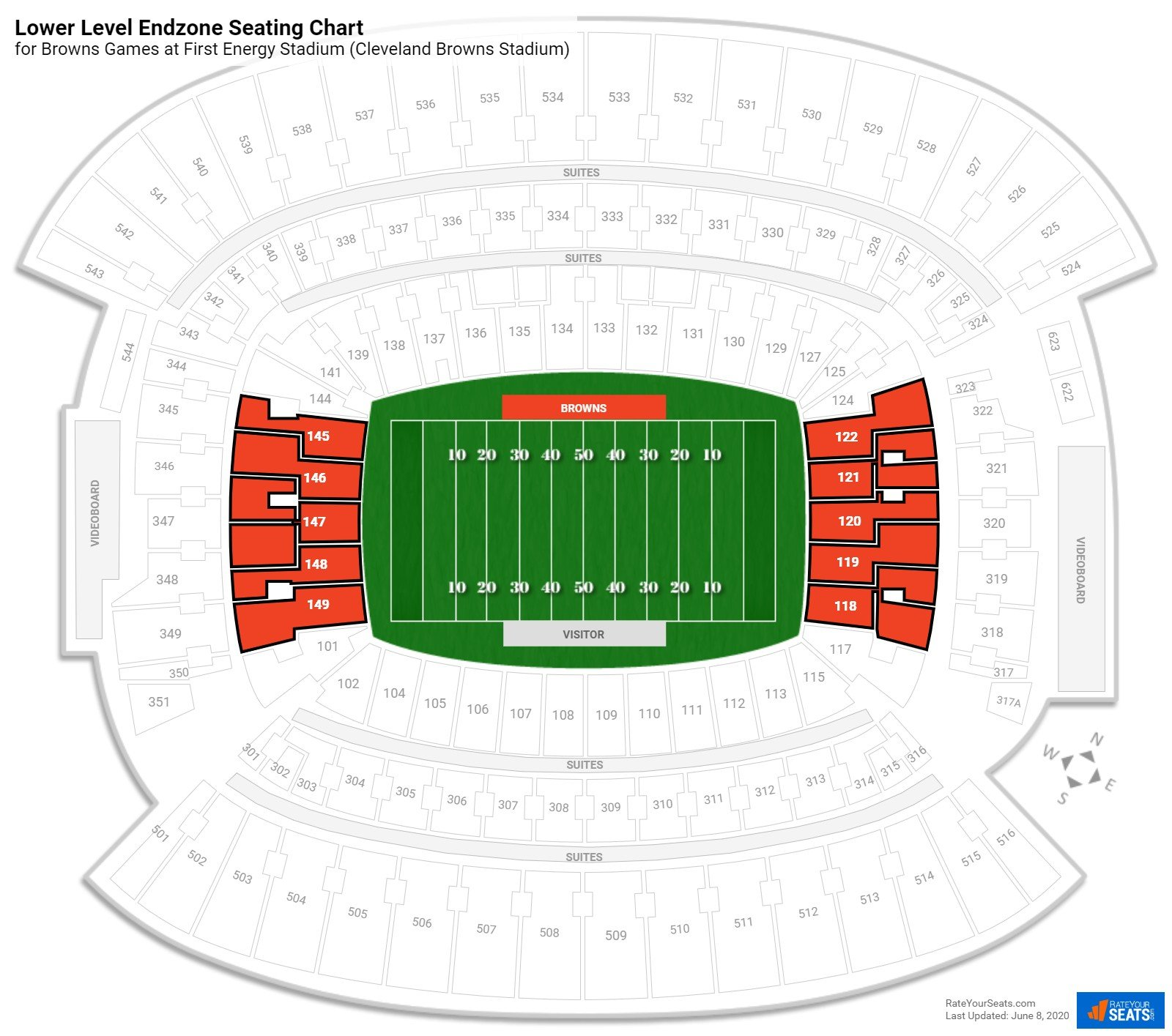 First Energy Stadium (Cleveland Browns Stadium) Lower Level Endzone seating chart