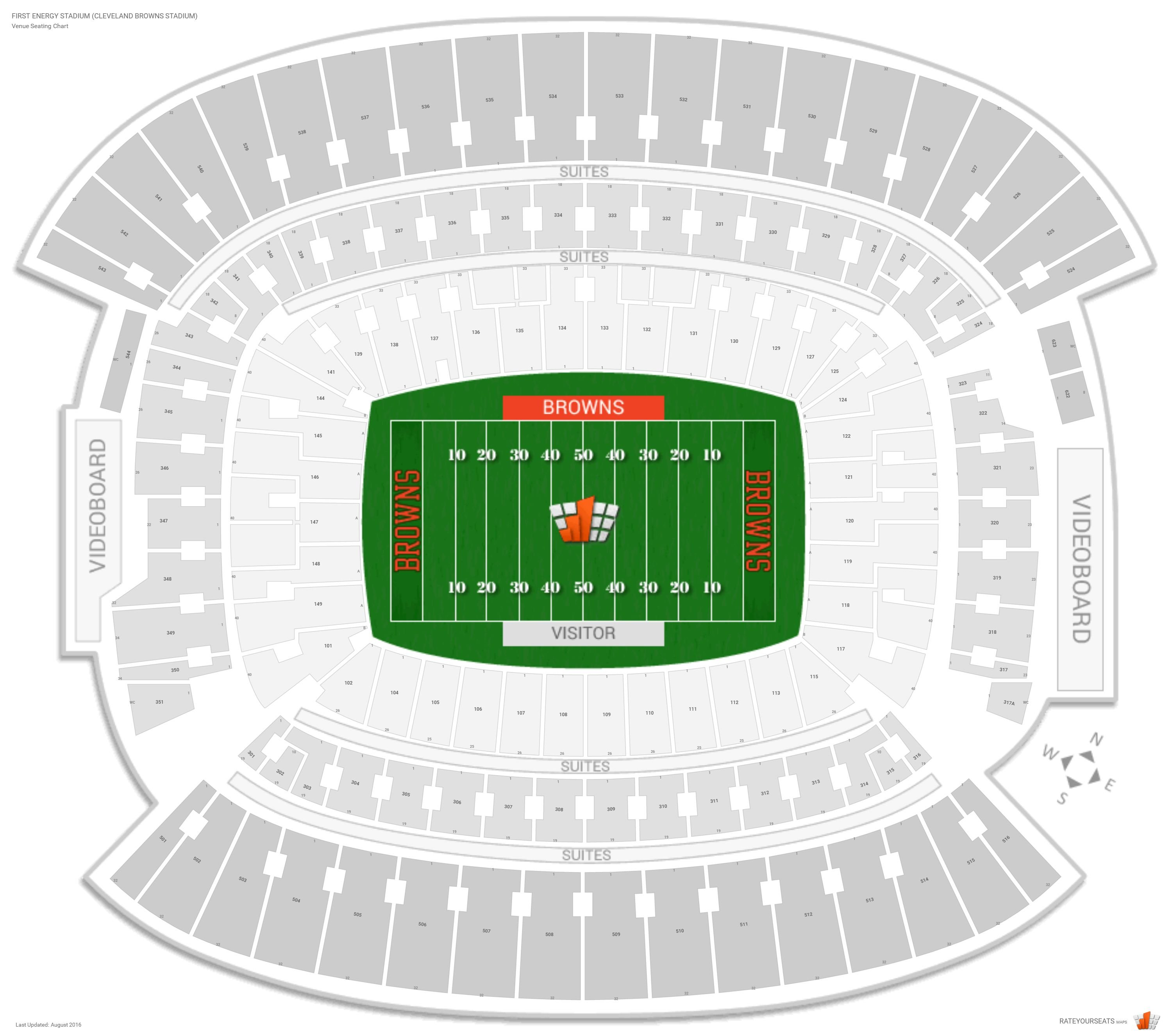 Cleveland browns seating guide first energy stadium cleveland