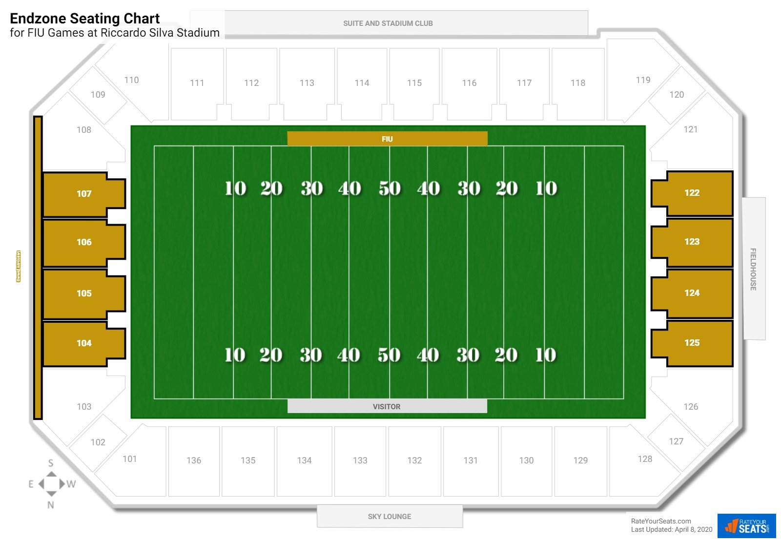 FIU Stadium Endzone seating chart