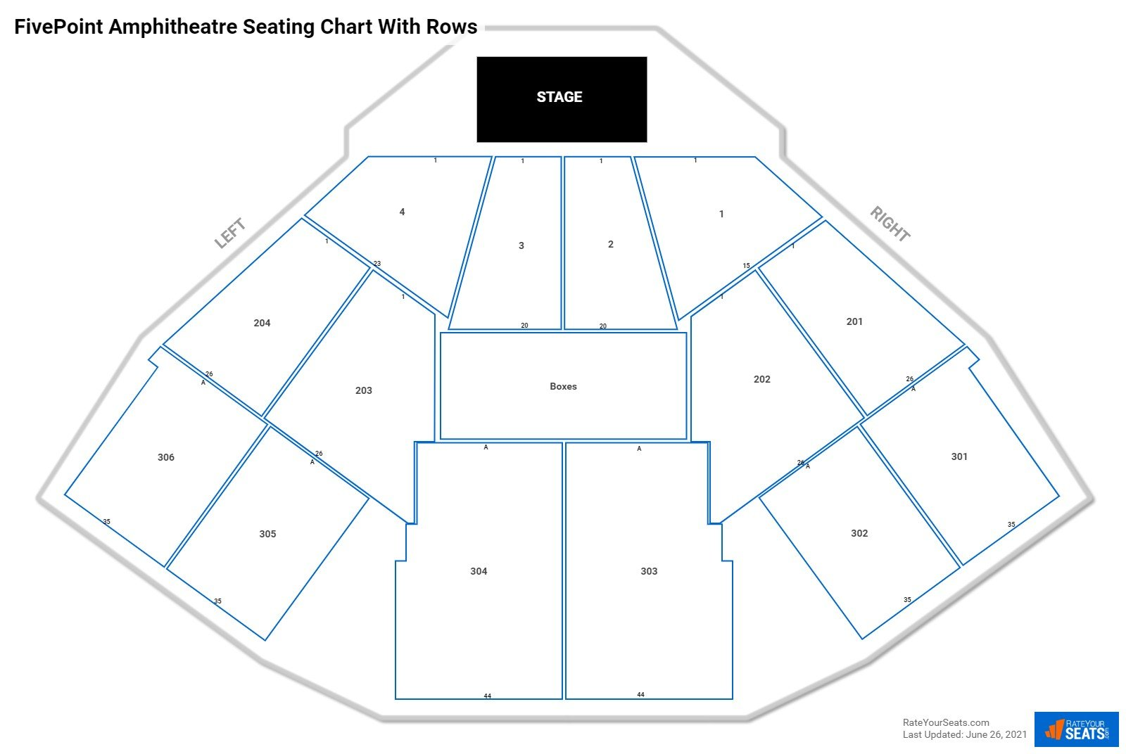 FivePoint Amphitheatre seating chart with rows