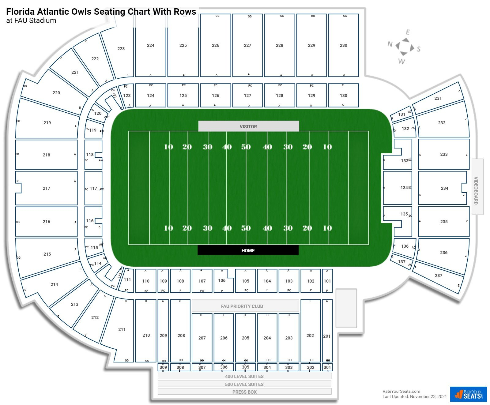 FAU Stadium seating chart with rows
