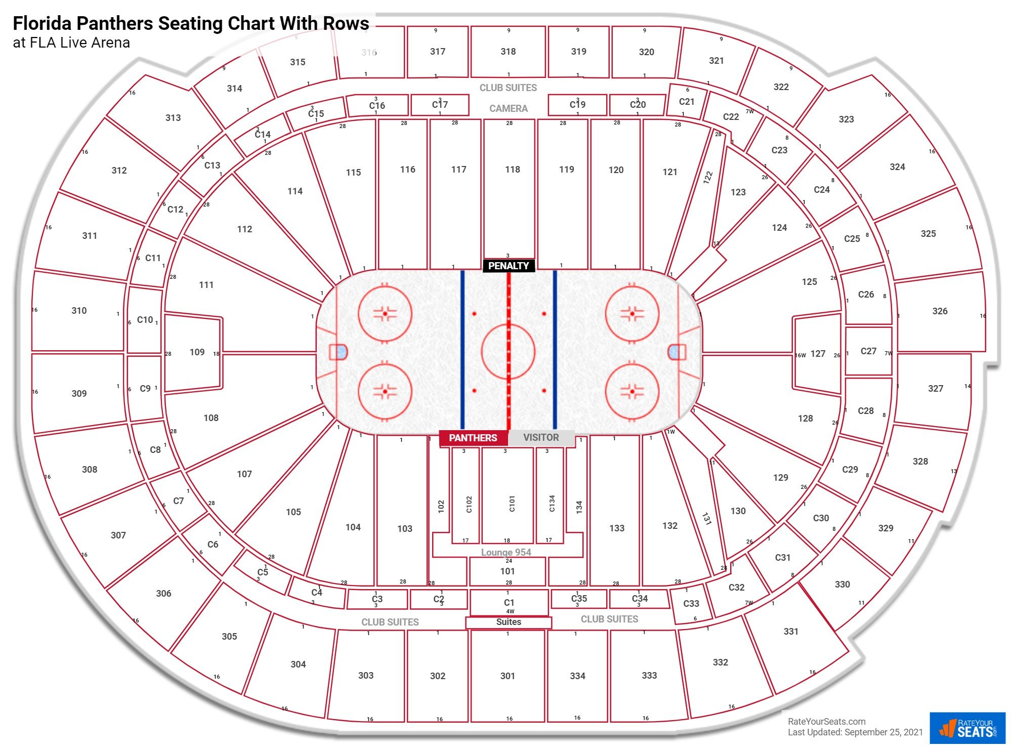 BB&T Center seating chart with rows hockey
