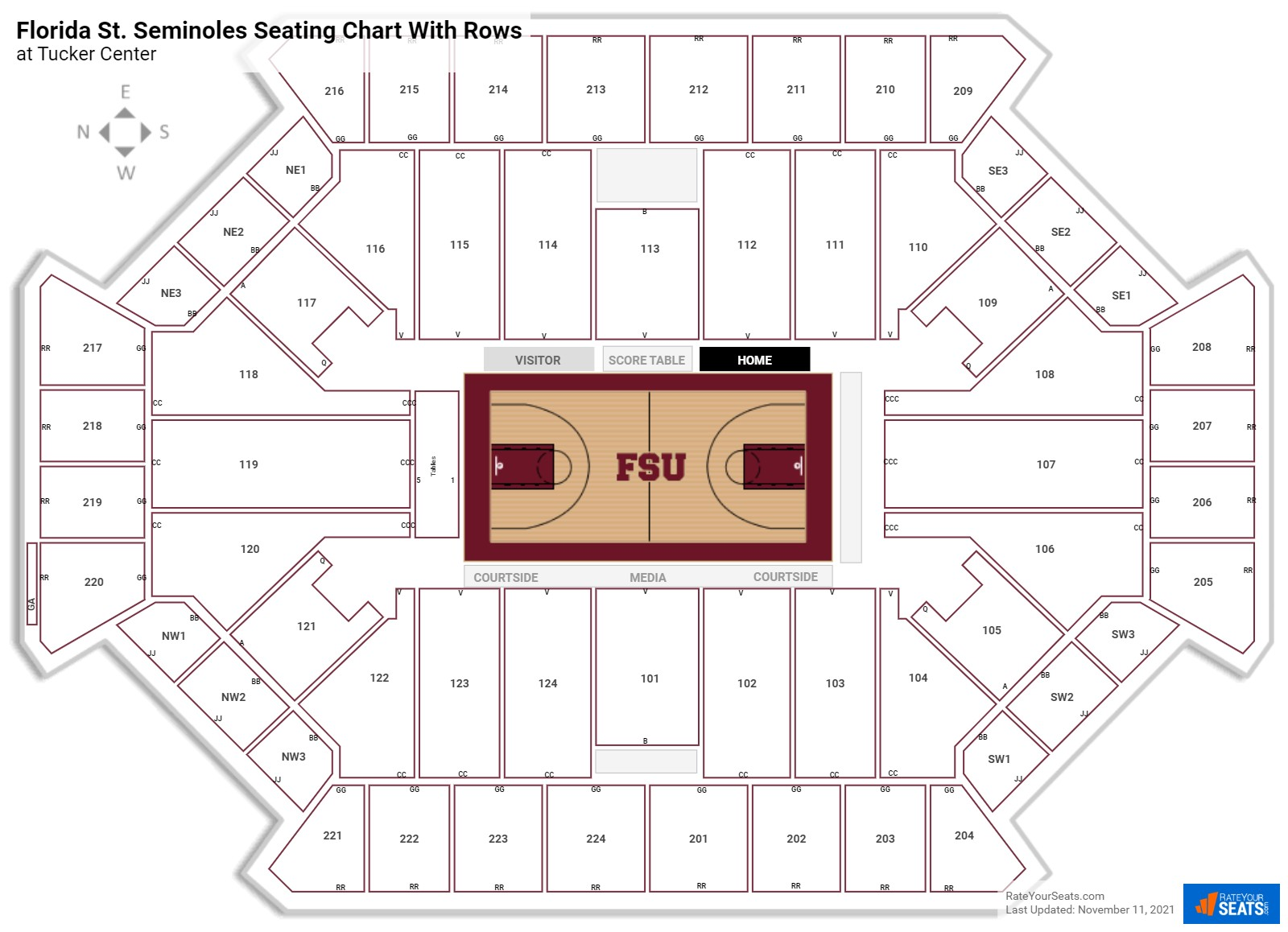 Tucker Center  seating chart with rows