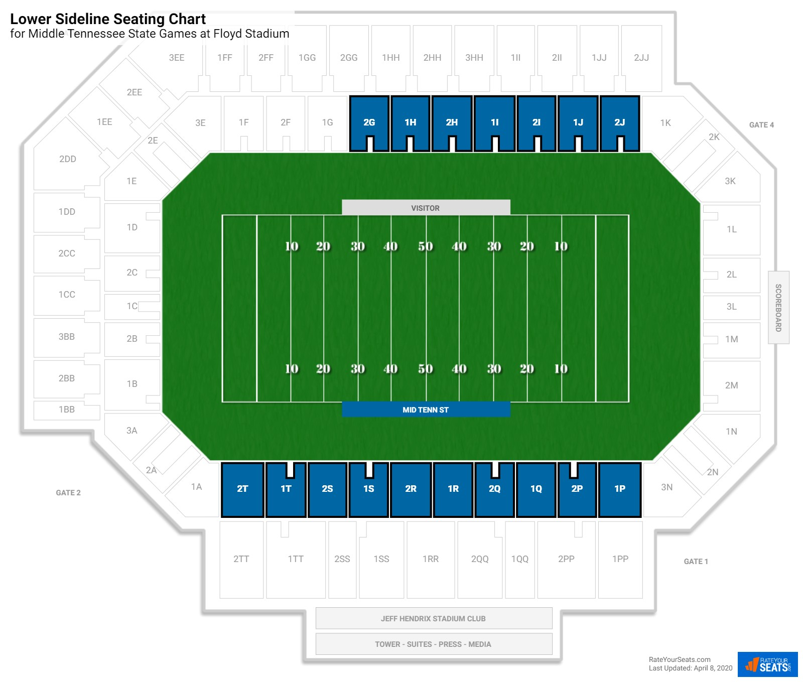 Floyd Stadium Lower Sideline seating chart