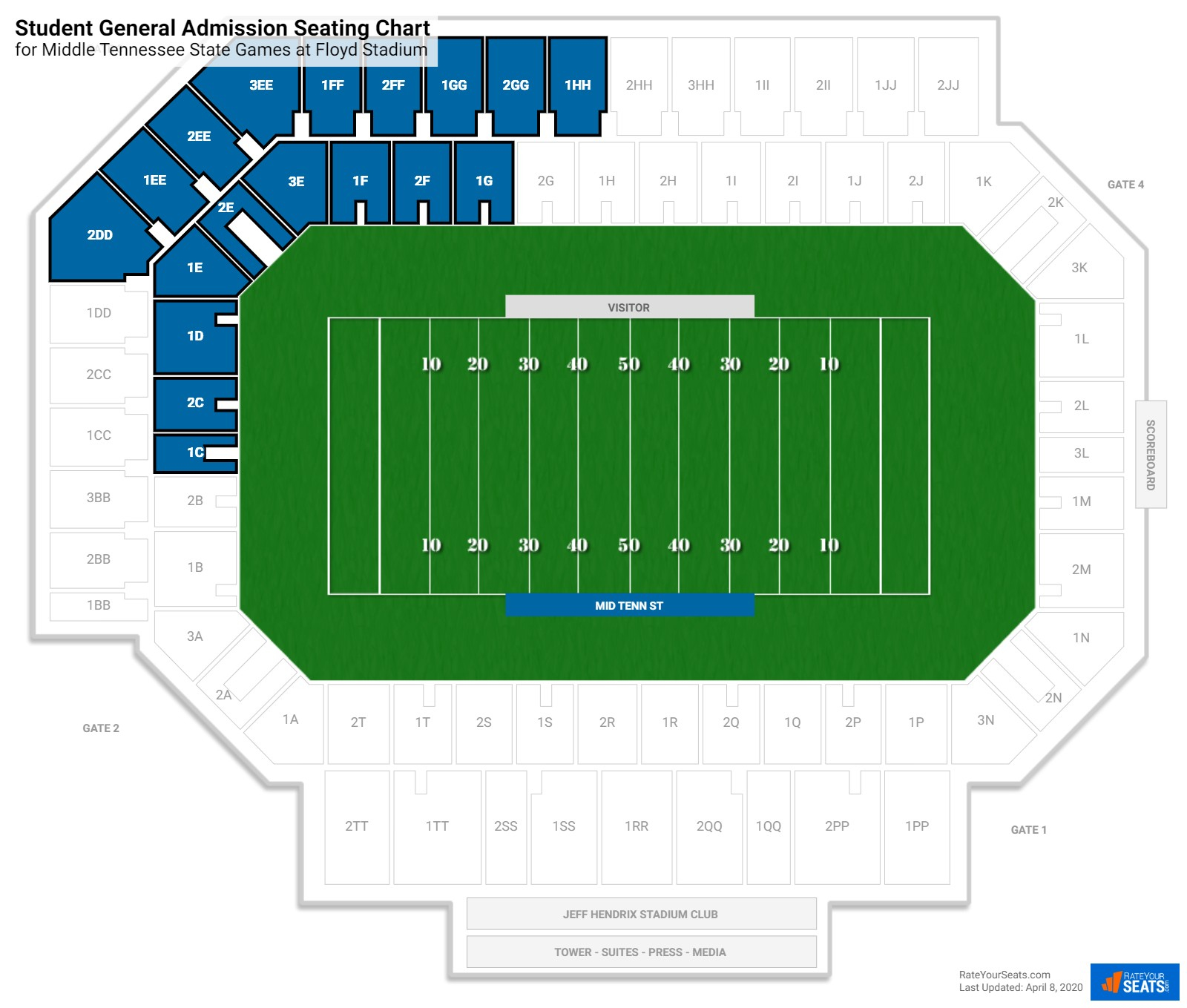 Floyd Stadium Student General Admission seating chart