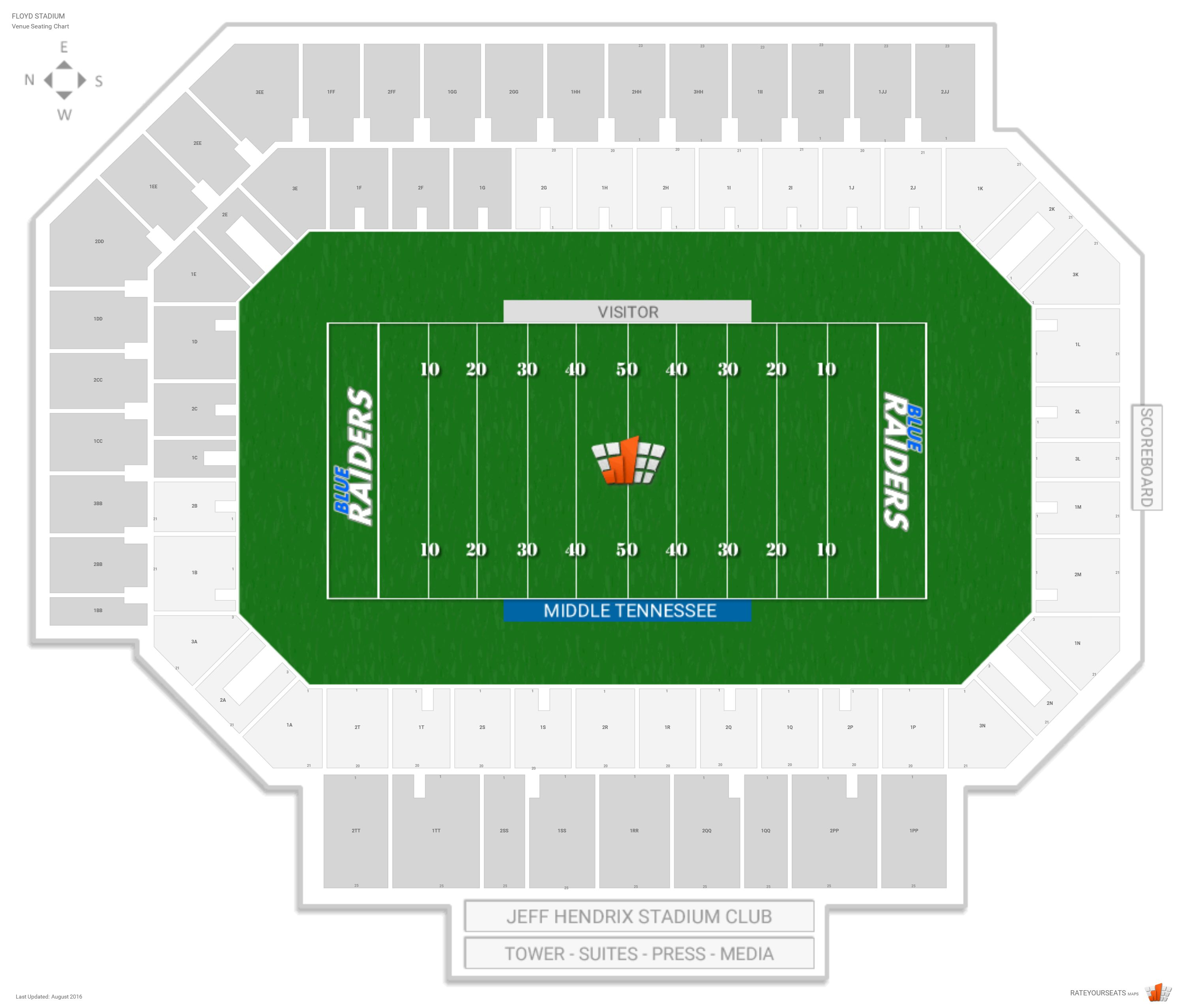 Floyd Stadium Middle Tennessee State Seating Guide Rateyourseatscom