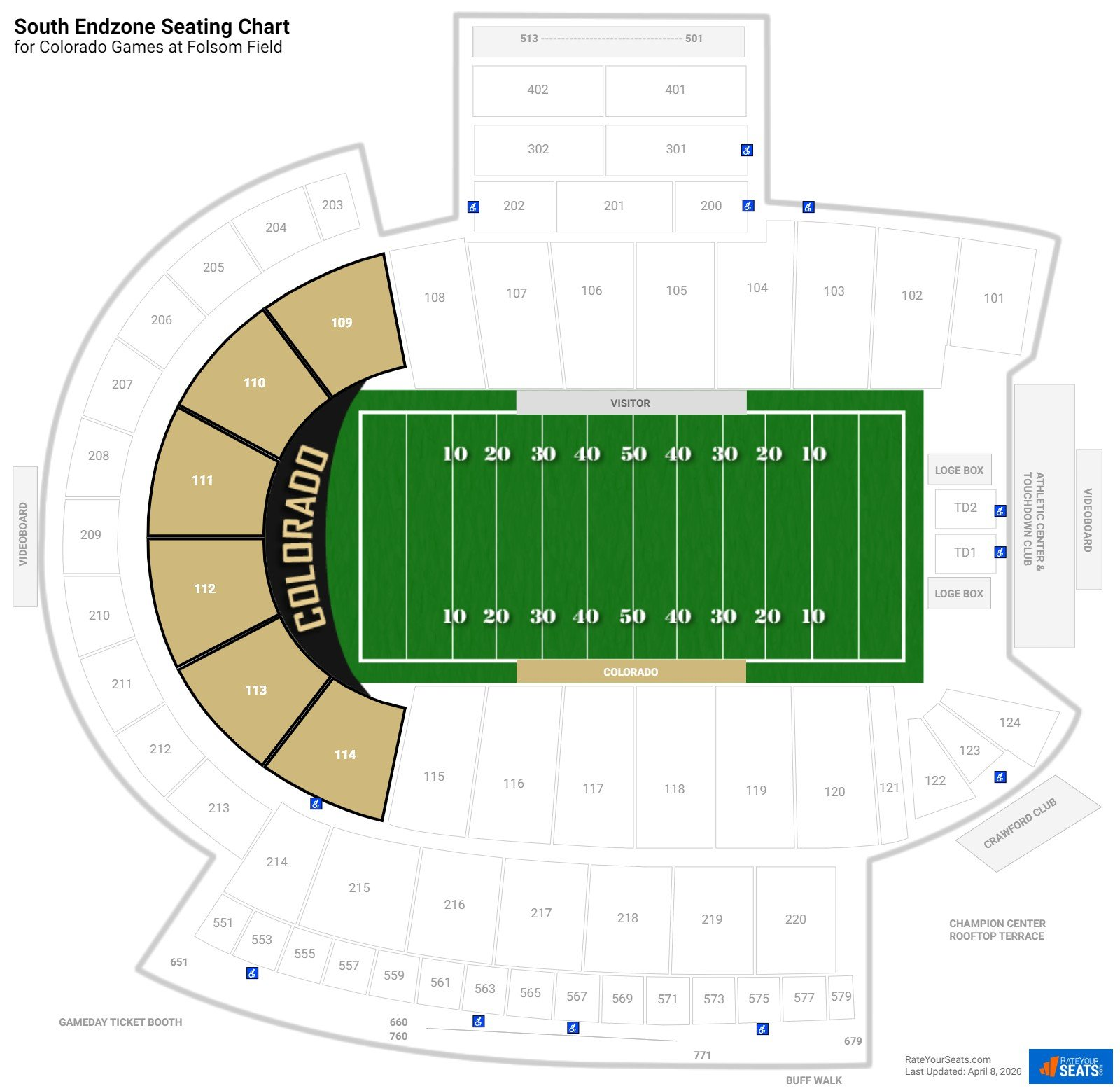 Folsom Field South Endzone seating chart