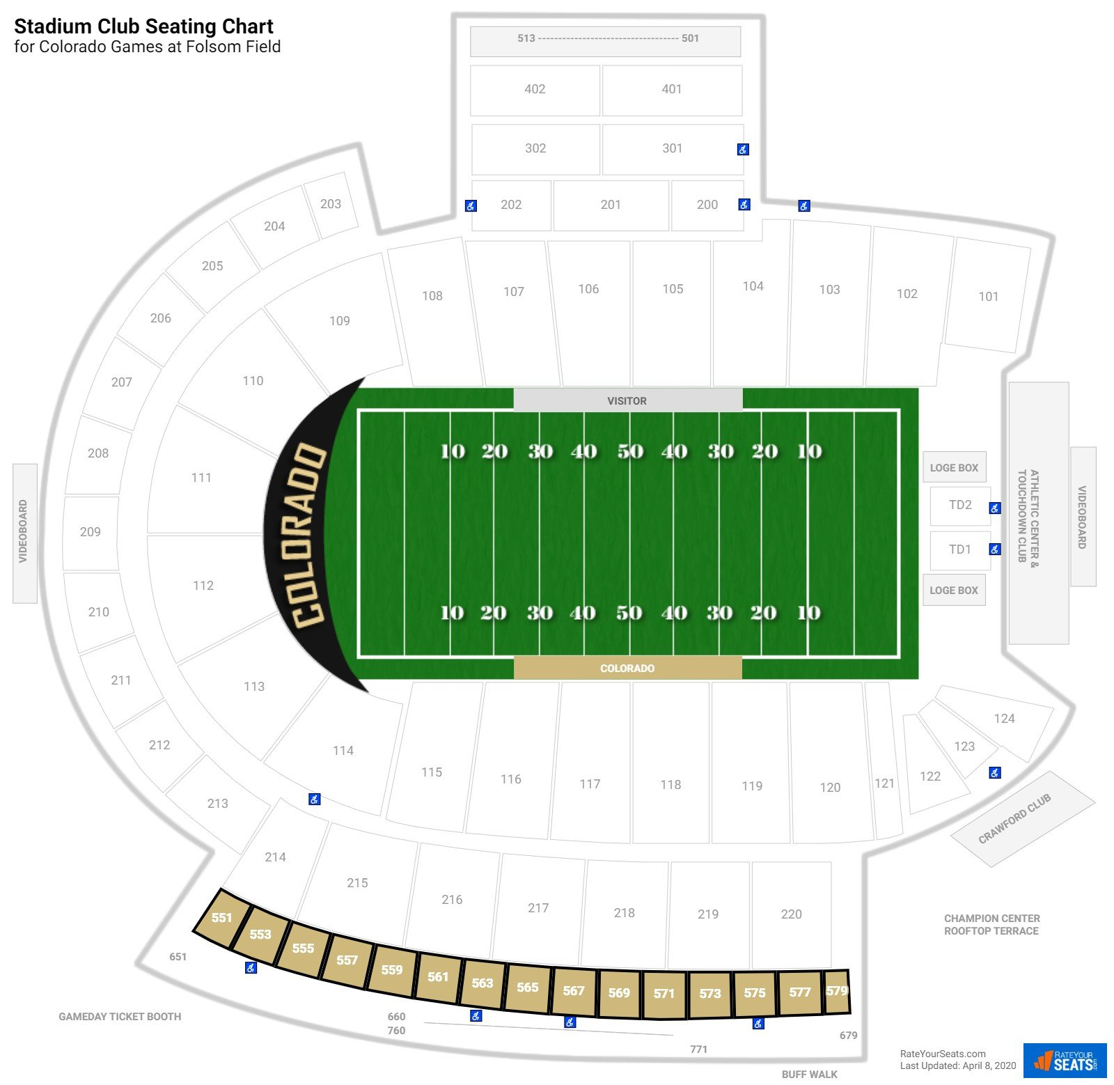 Folsom Field Stadium Club seating chart