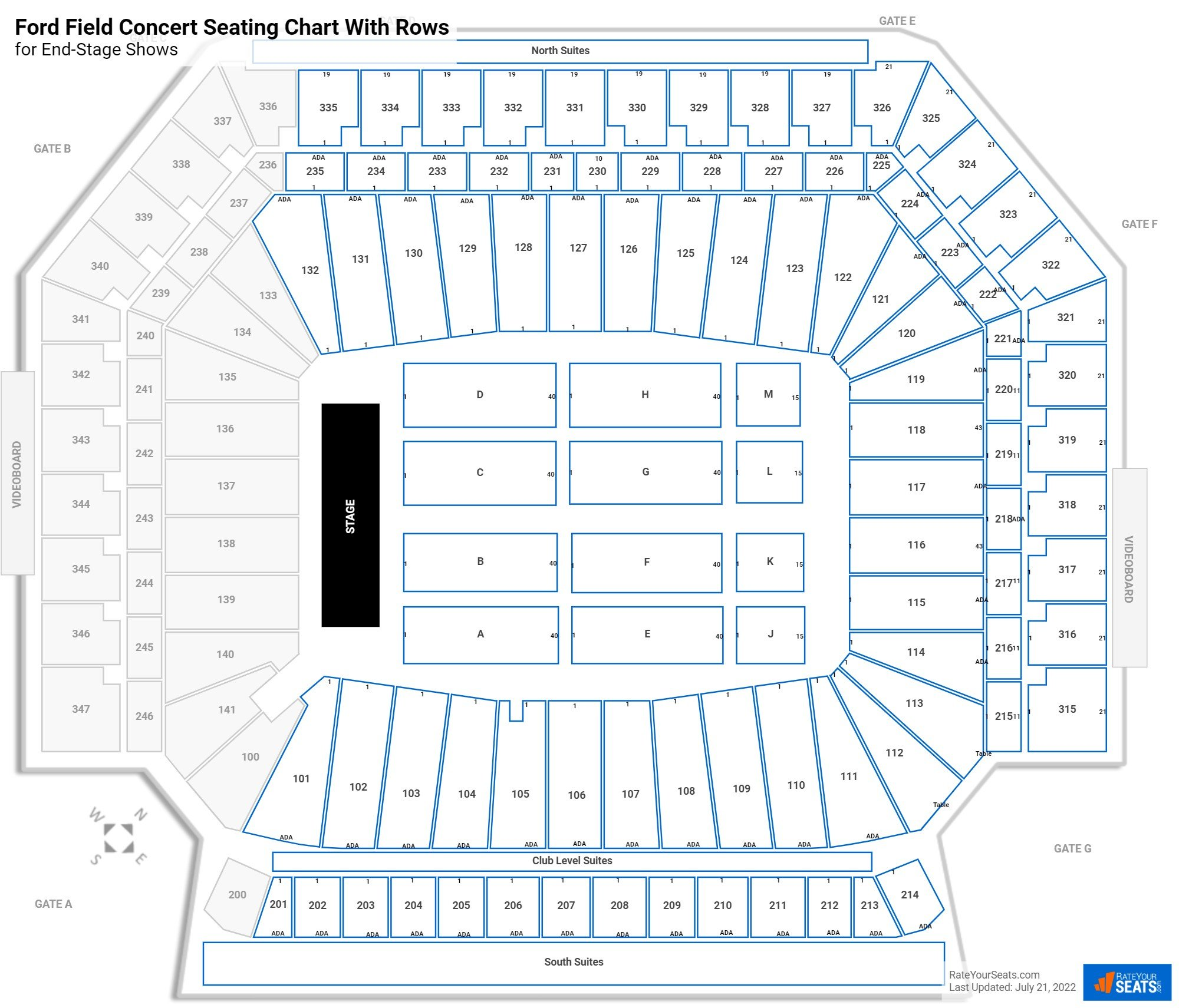 Ford Field seating chart with rows concert