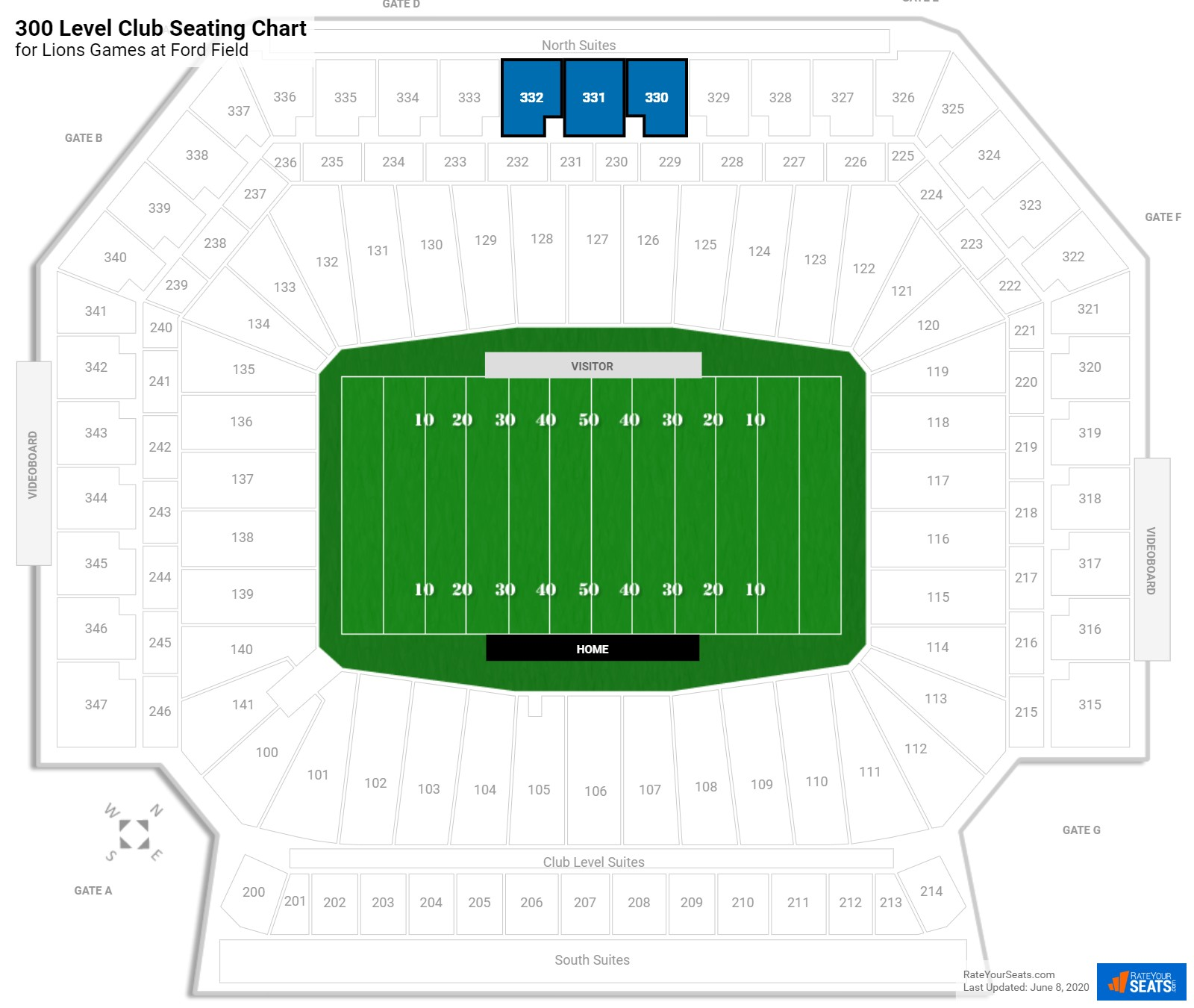 Ford Field 300 Level Club seating chart
