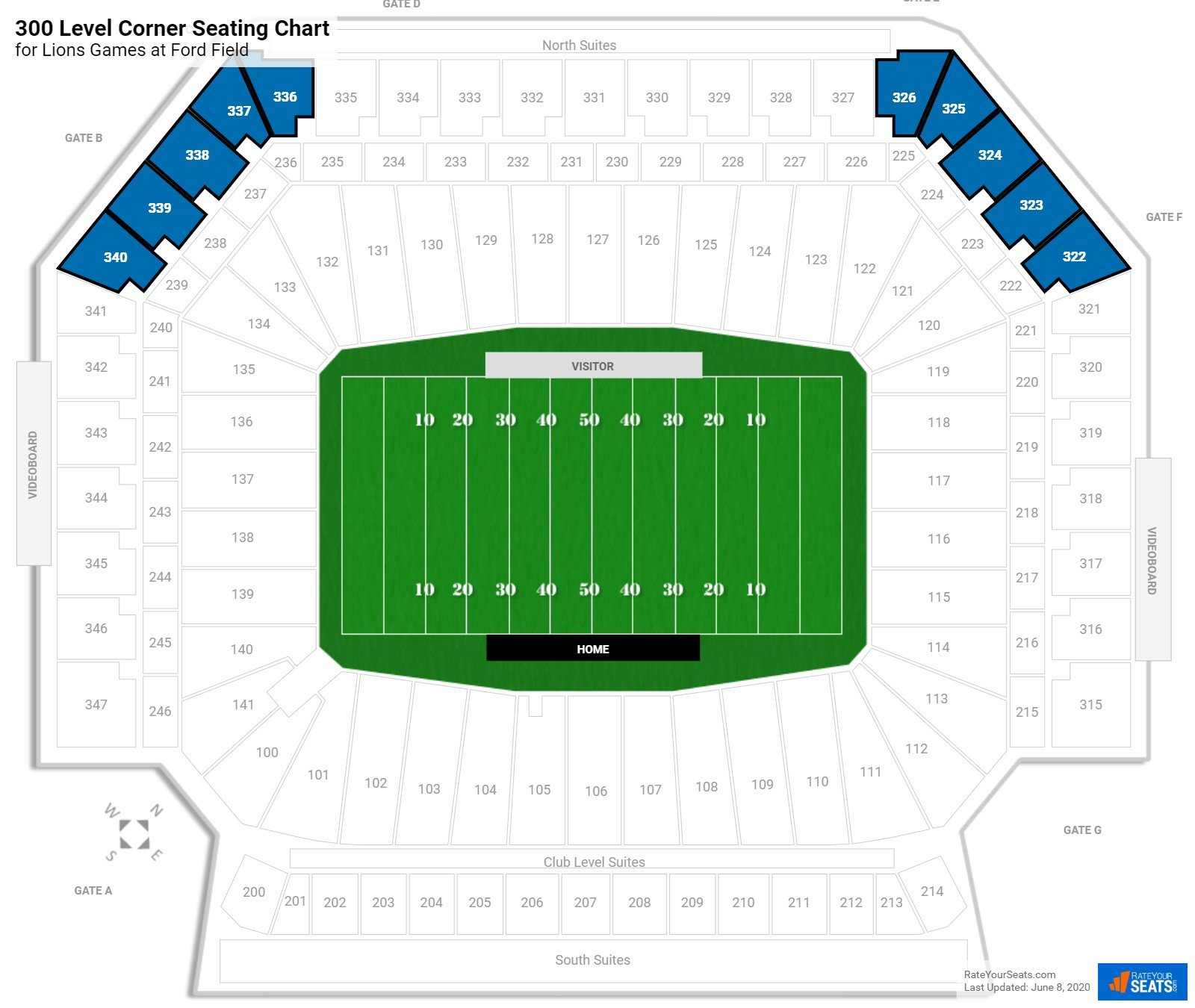 Ford Field 300 Level Corner seating chart