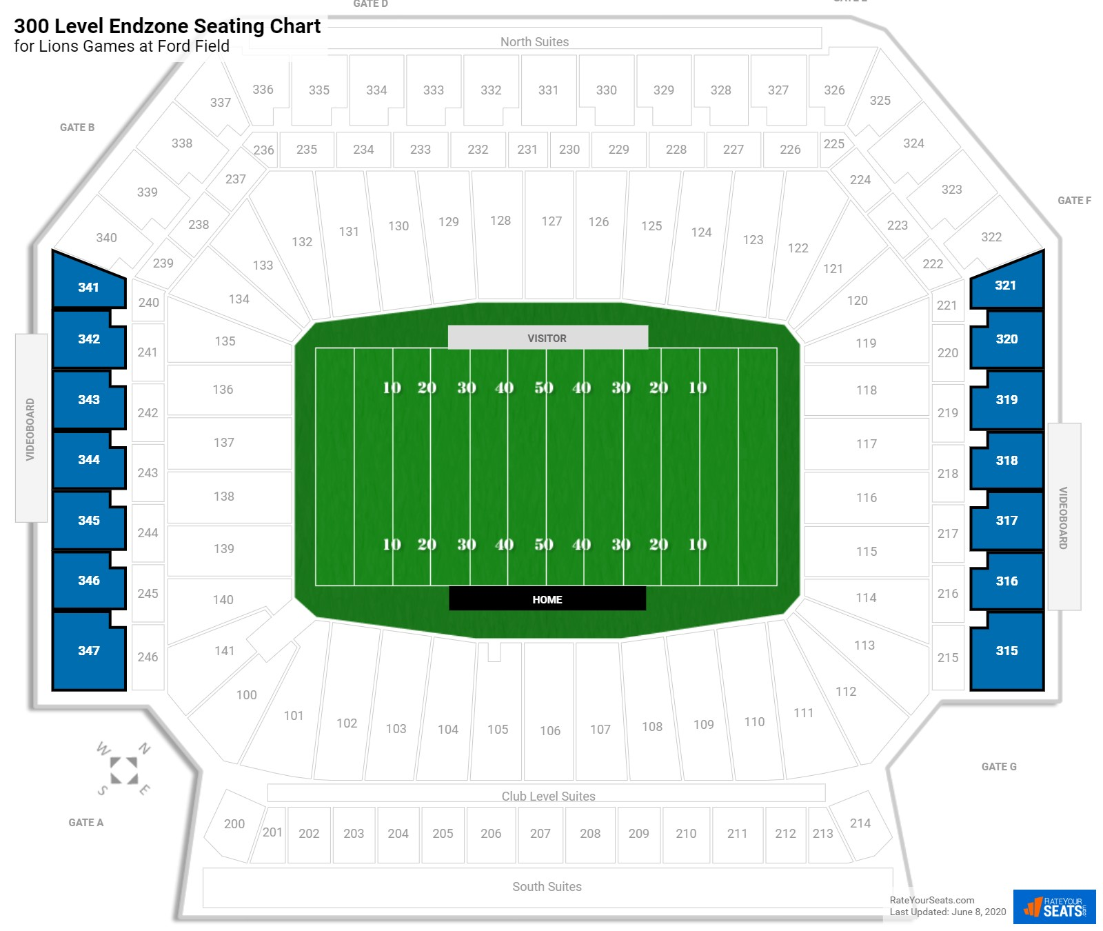 Ford Field 300 Level Endzone seating chart