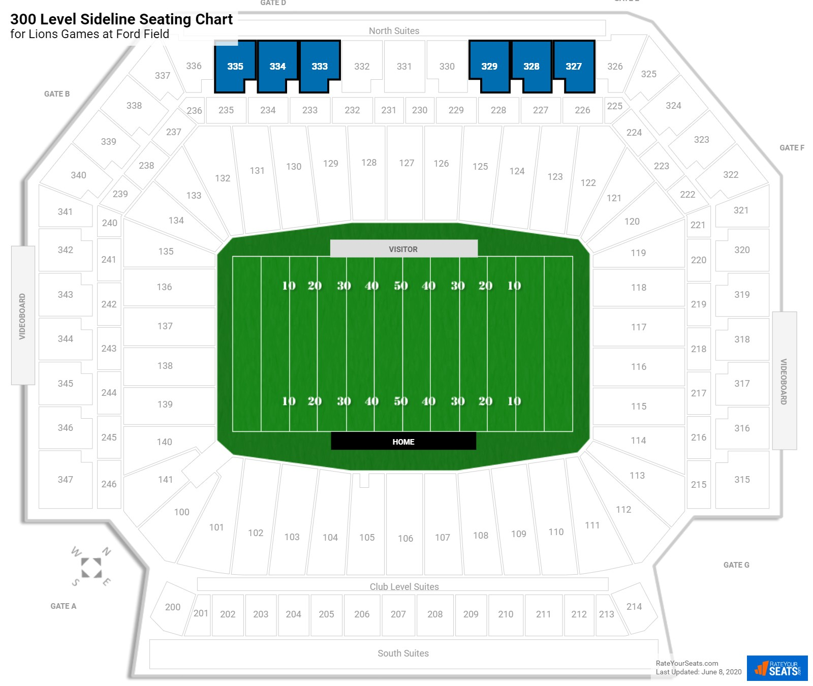 Ford Field 300 Level Sideline seating chart