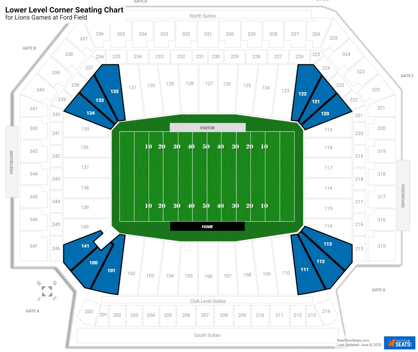 Ford Field Lower Level Corner seating chart