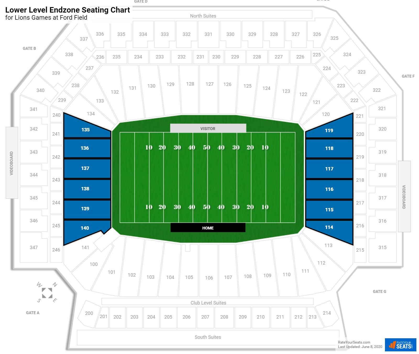Ford Field Lower Level Endzone seating chart