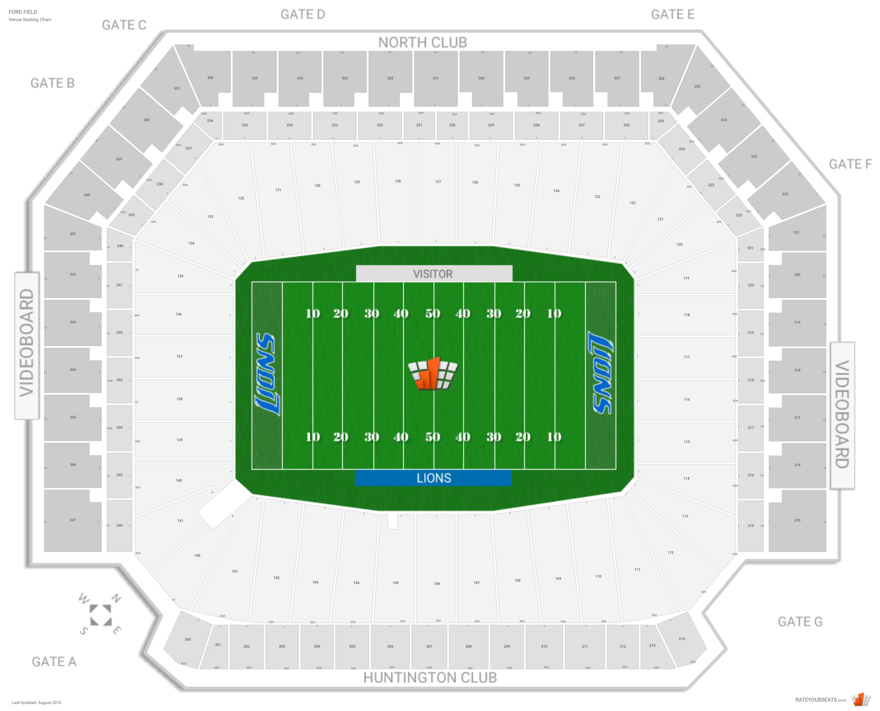 Ford Field Seating Chart With Row Numbers