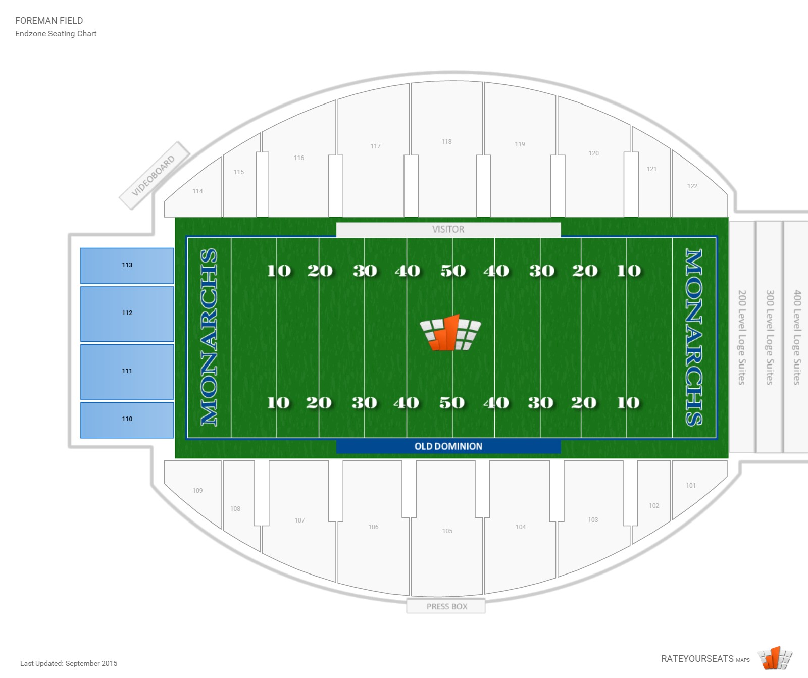 Foreman Field Endzone seating chart