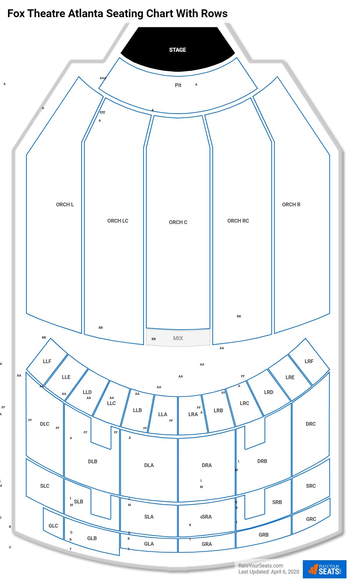 Fox Theatre Atlanta seating chart with rows