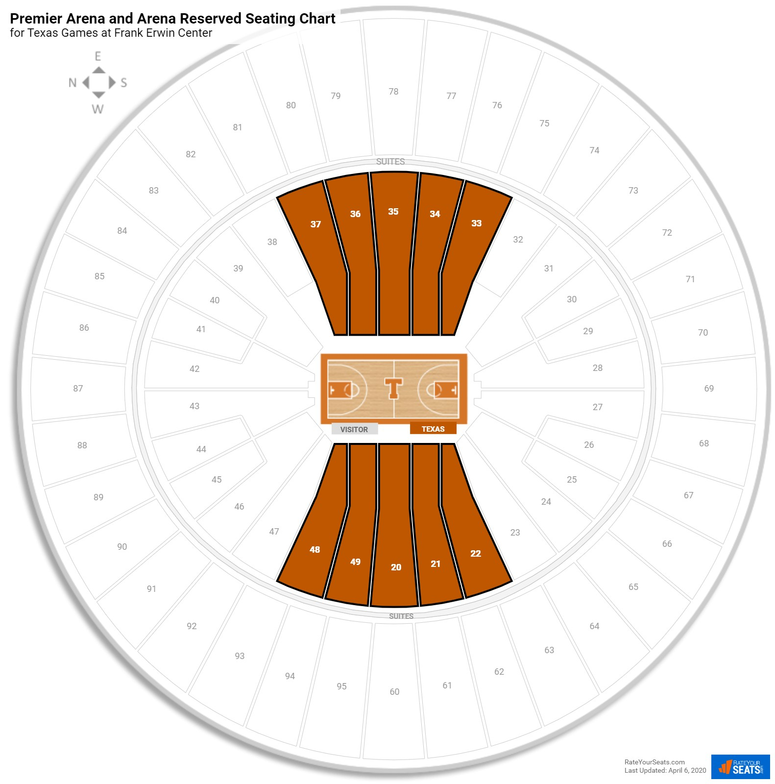 Frank Erwin Center Arena Level Center seating chart