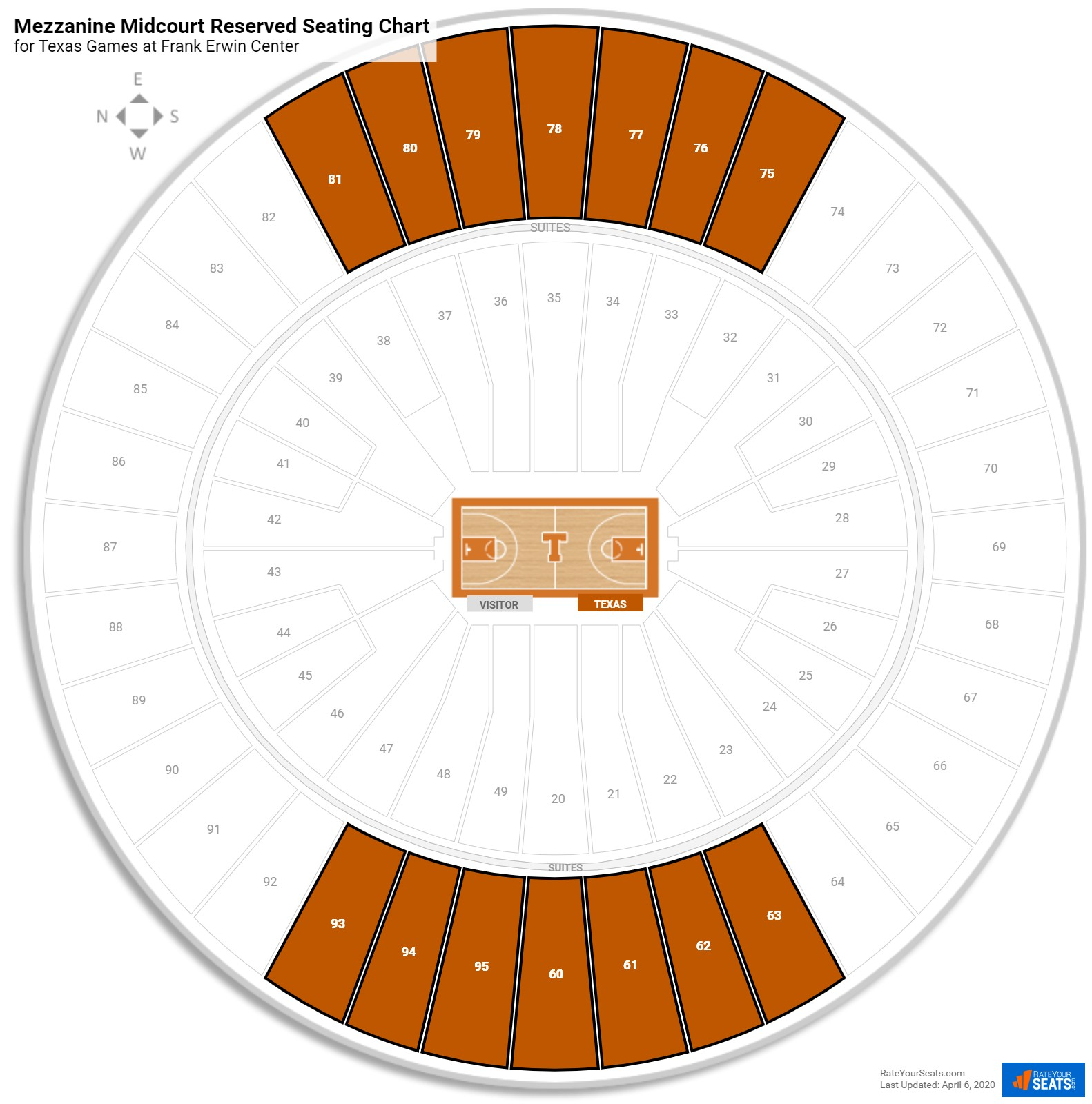Frank Erwin Center Mezzanine Midcourt Reserved Seating Chart