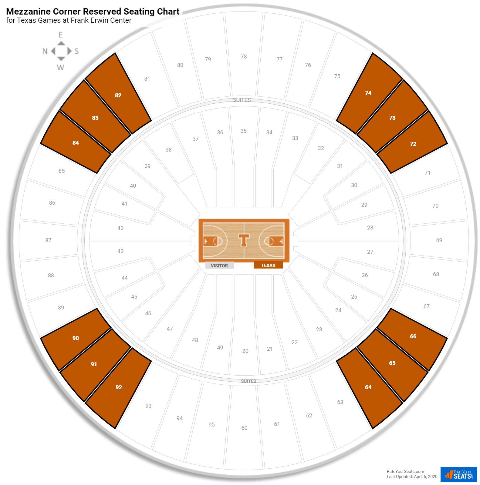 Frank Erwin Center Mezzanine Corner Reserved Seating Chart