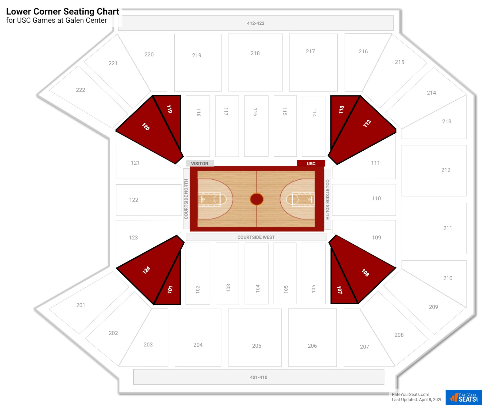 Galen Center Lower Corner seating chart