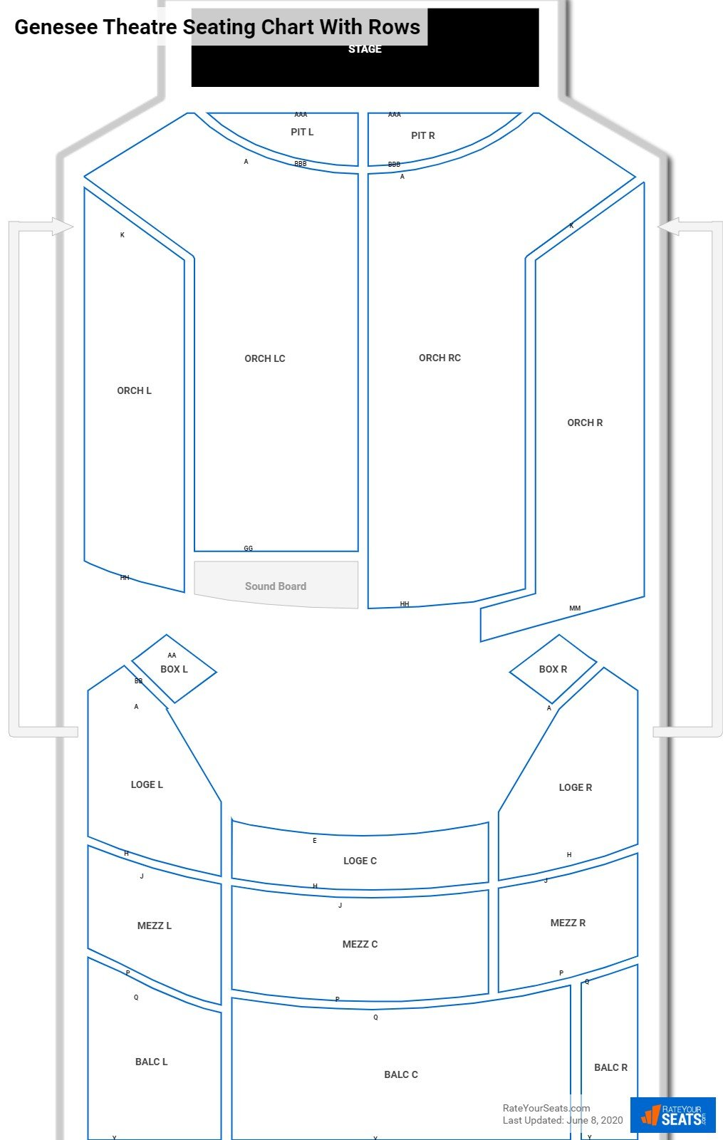 Genesee Theatre seating chart with rows