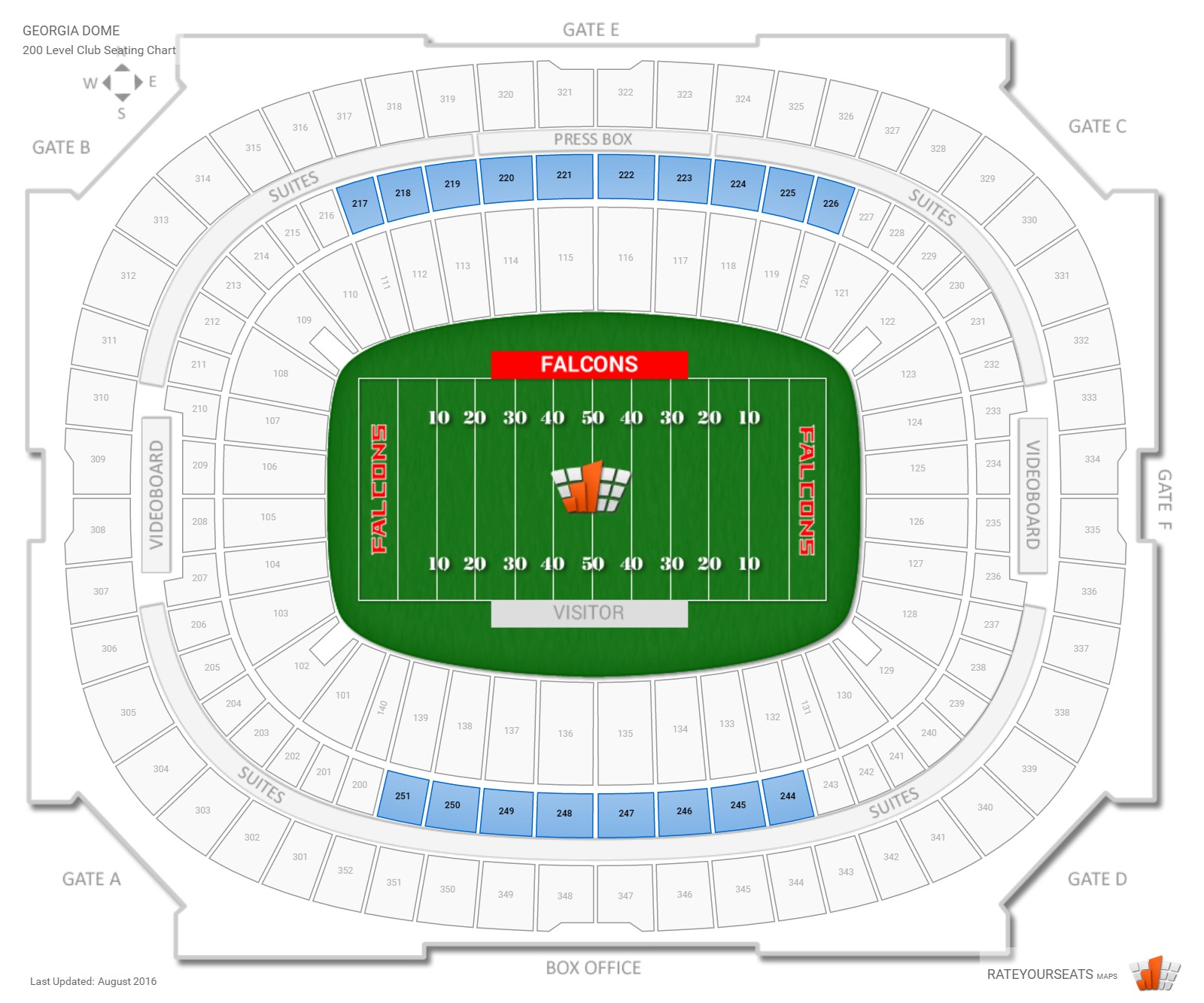 Georgia Dome 200 Level Club seating chart