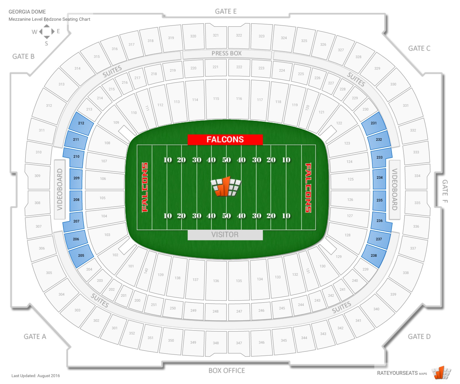 Georgia Dome Mezzanine Level Endzone seating chart