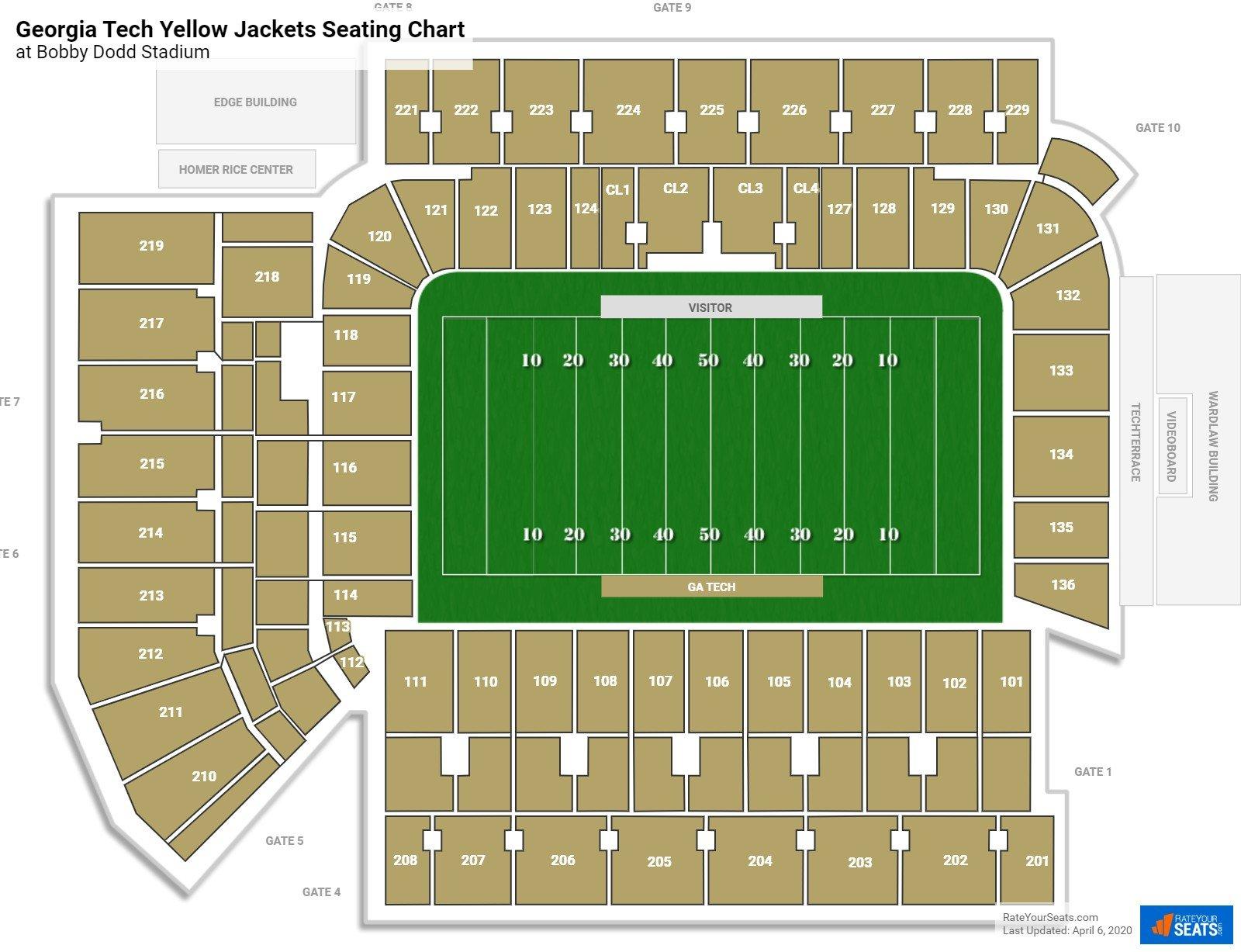 Bobby Dodd Stadium Seating Charts Rateyourseats Com