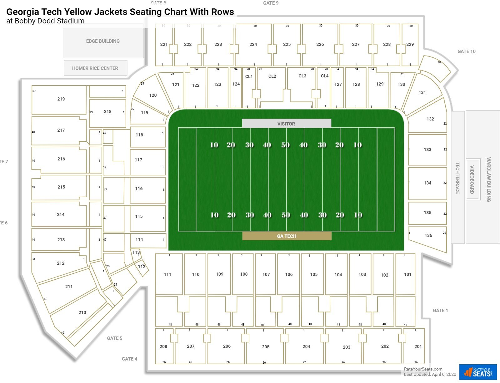 Bobby Dodd Stadium seating chart with rows