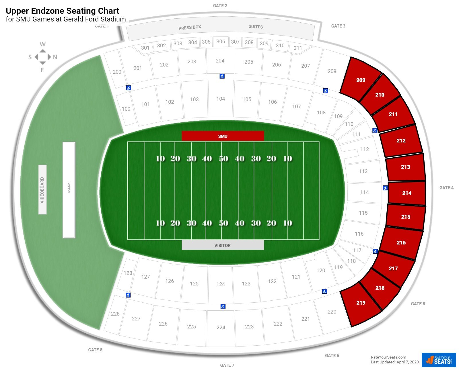 Gerald Ford Stadium Upper Endzone seating chart