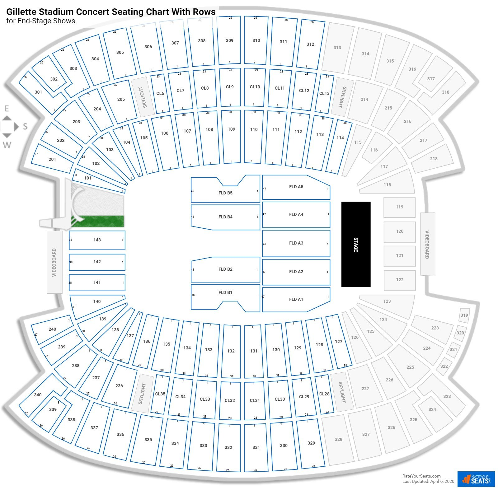 Gillette Stadium seating chart with rows concert