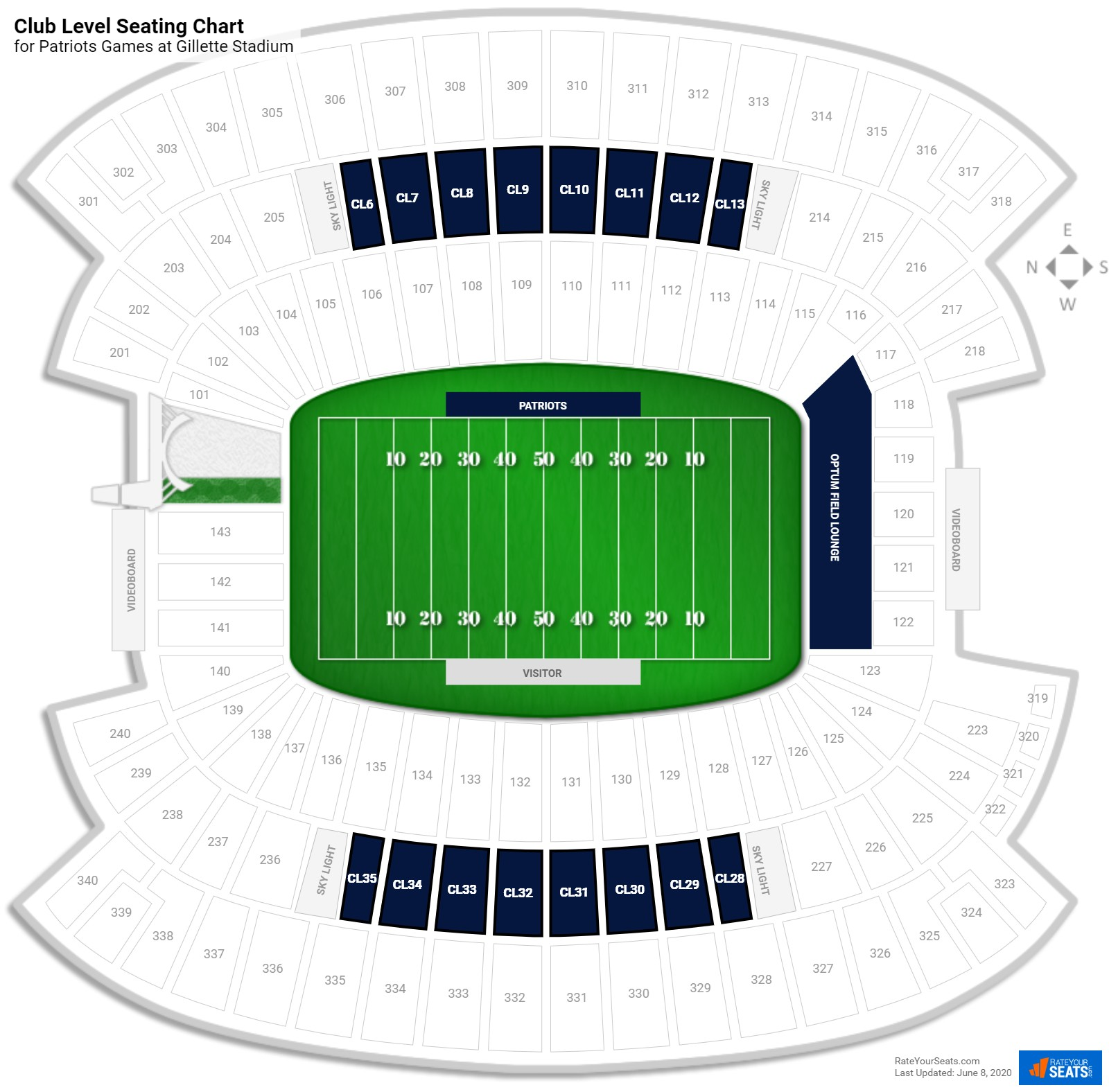 Gillette Stadium Club Level seating chart