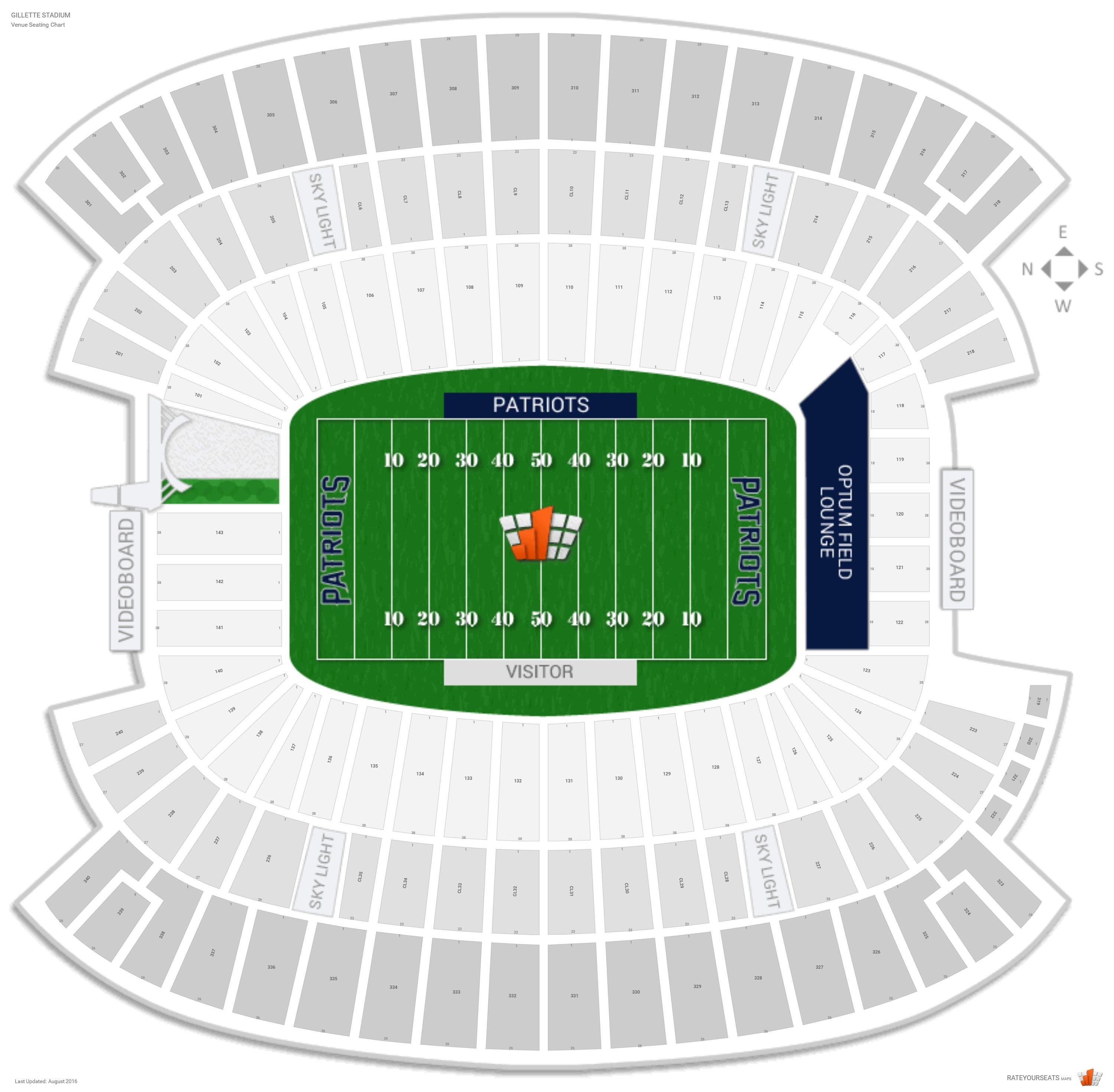 gillette stadium detailed seating chart. Black Bedroom Furniture Sets. Home Design Ideas