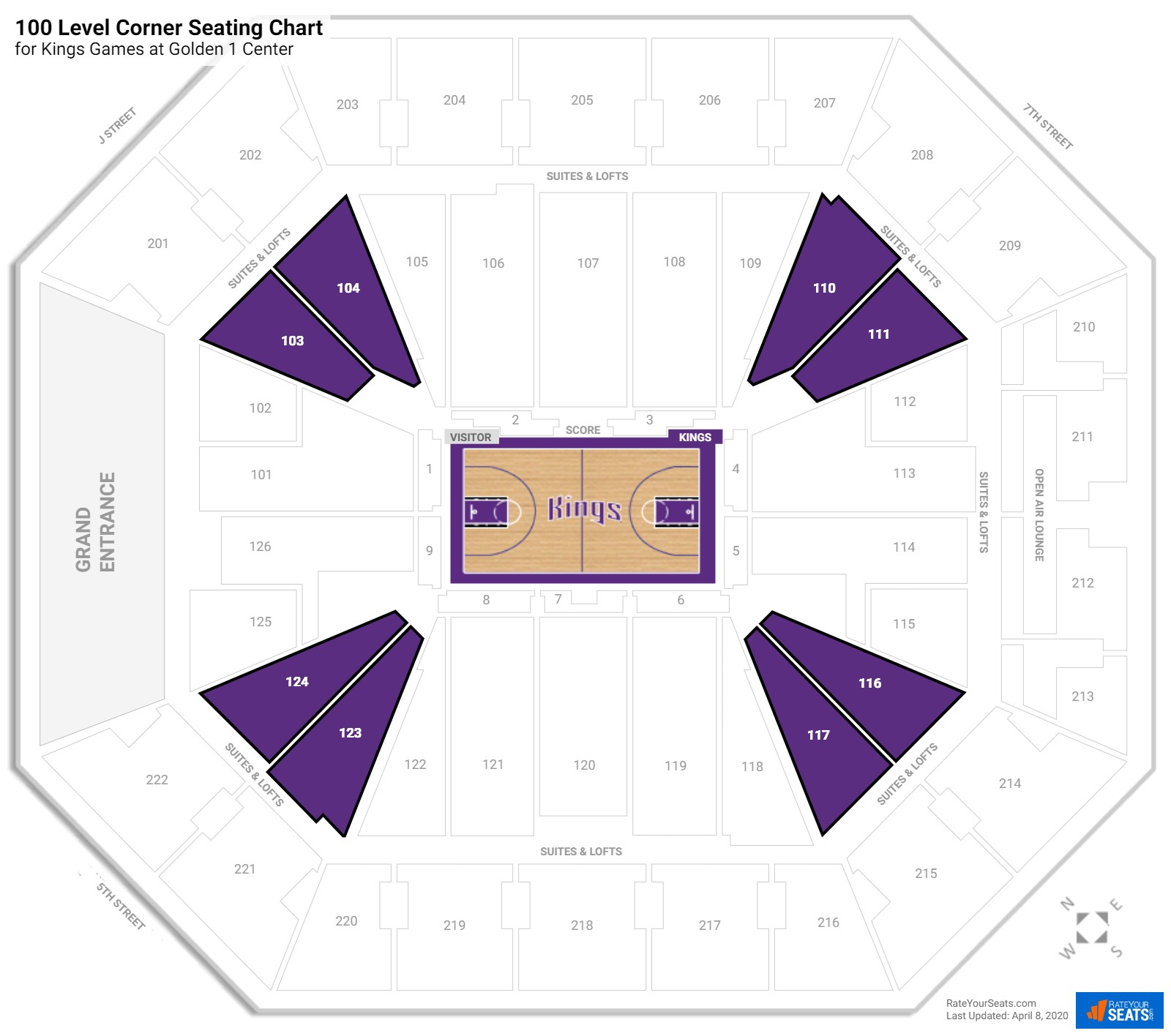 Golden 1 Center 100 Level Corner Seating Chart