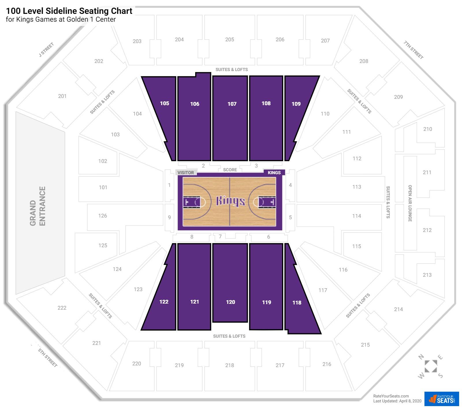 Golden 1 Center 100 Level Sideline Seating Chart