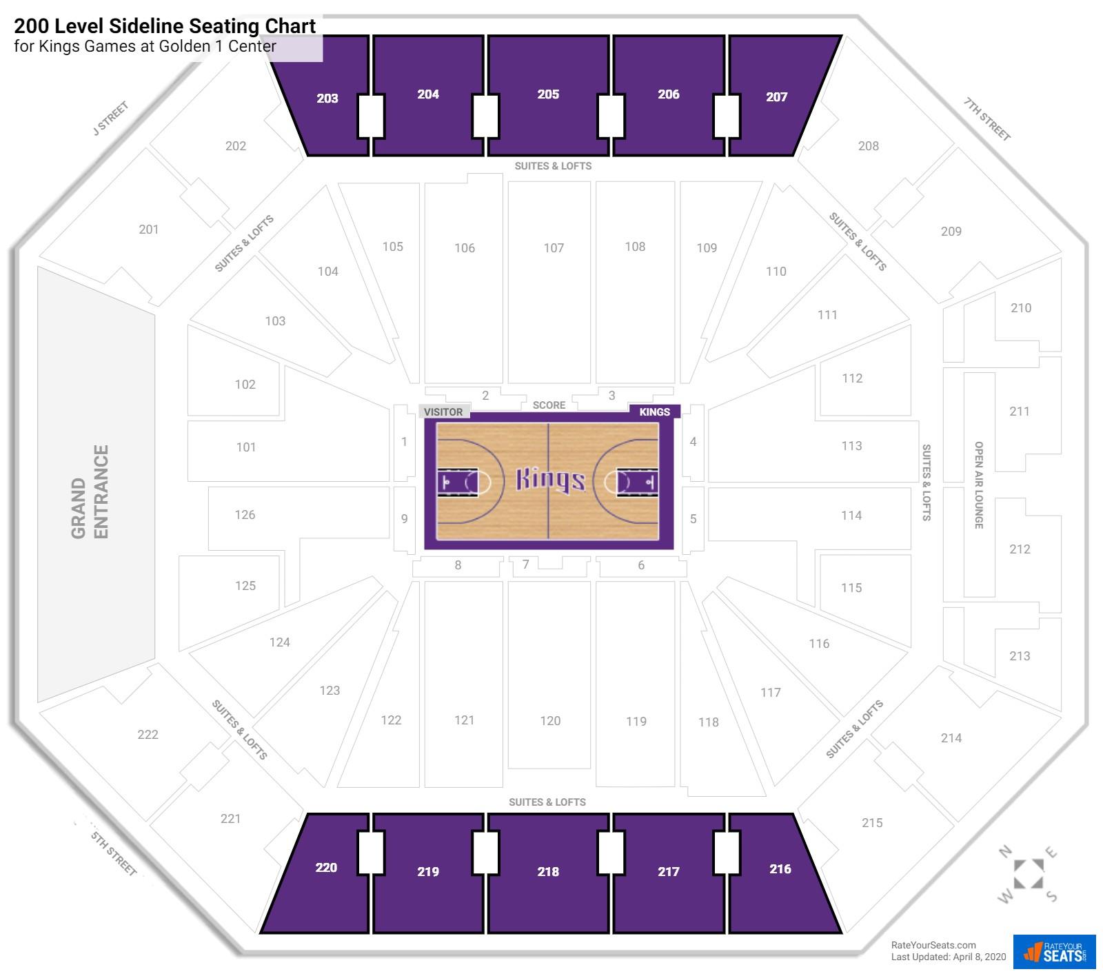 Sacramento Kings Seating Guide Golden 1 Center